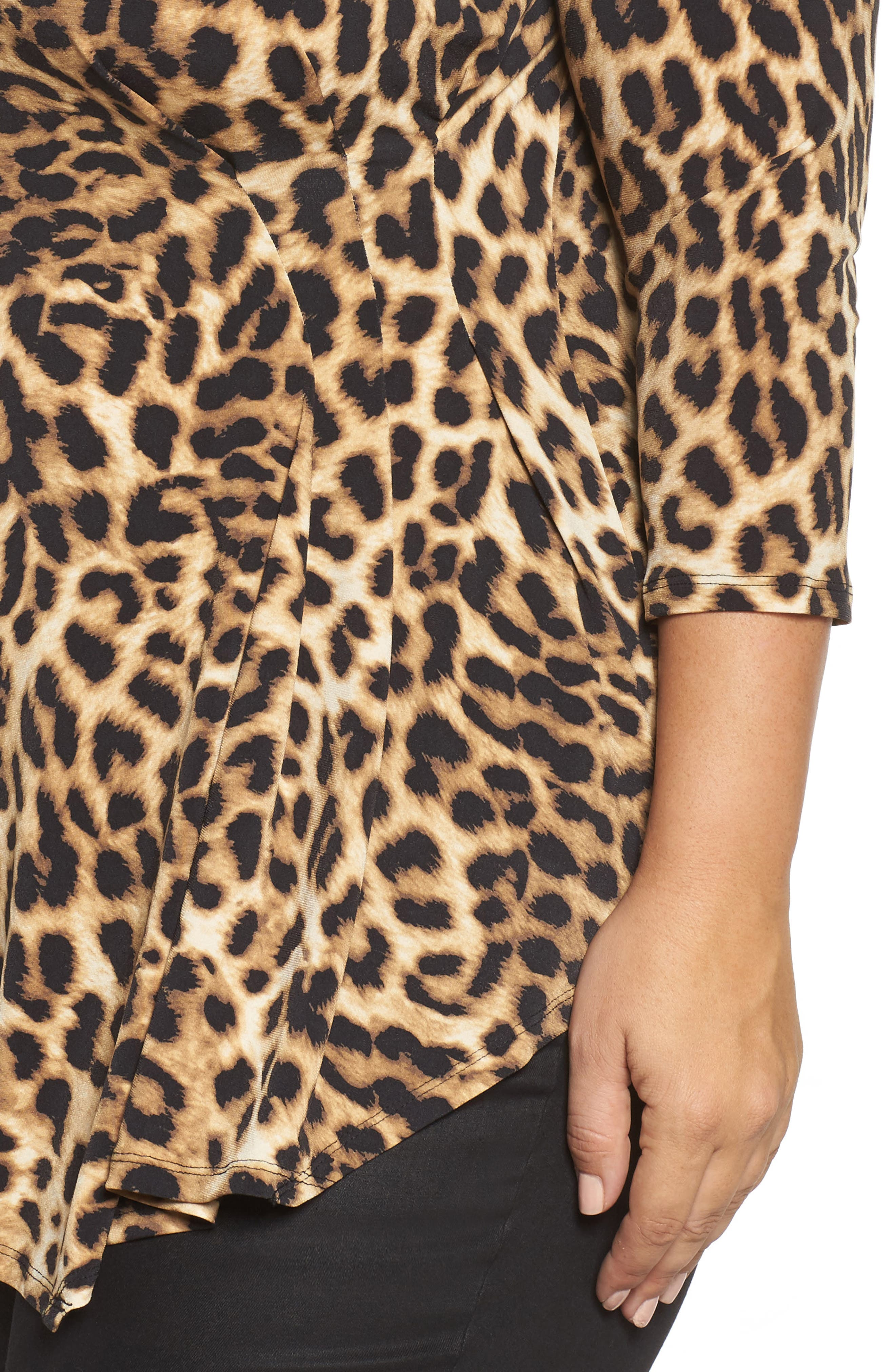 Alternate Image 4  - Vince Camuto Side Pleat Leopard Print Top (Plus Size)