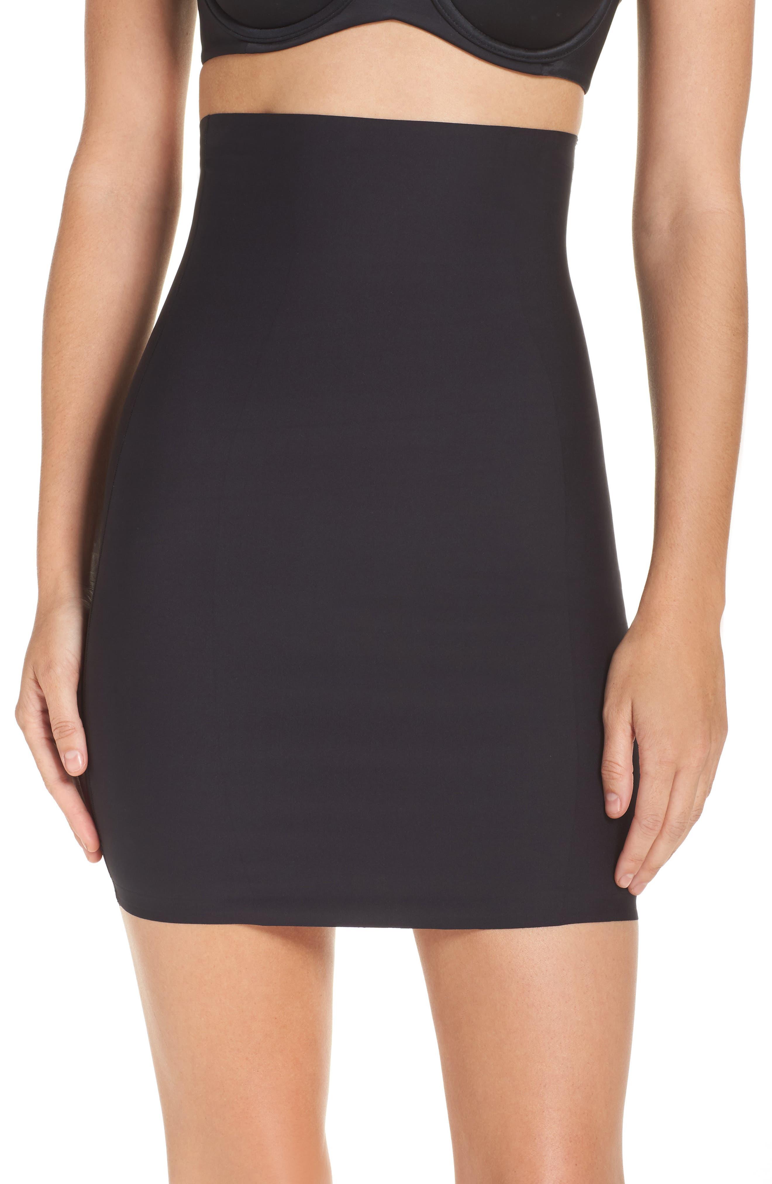 High Waist Smoother Skirt Slip,                             Main thumbnail 1, color,                             Black