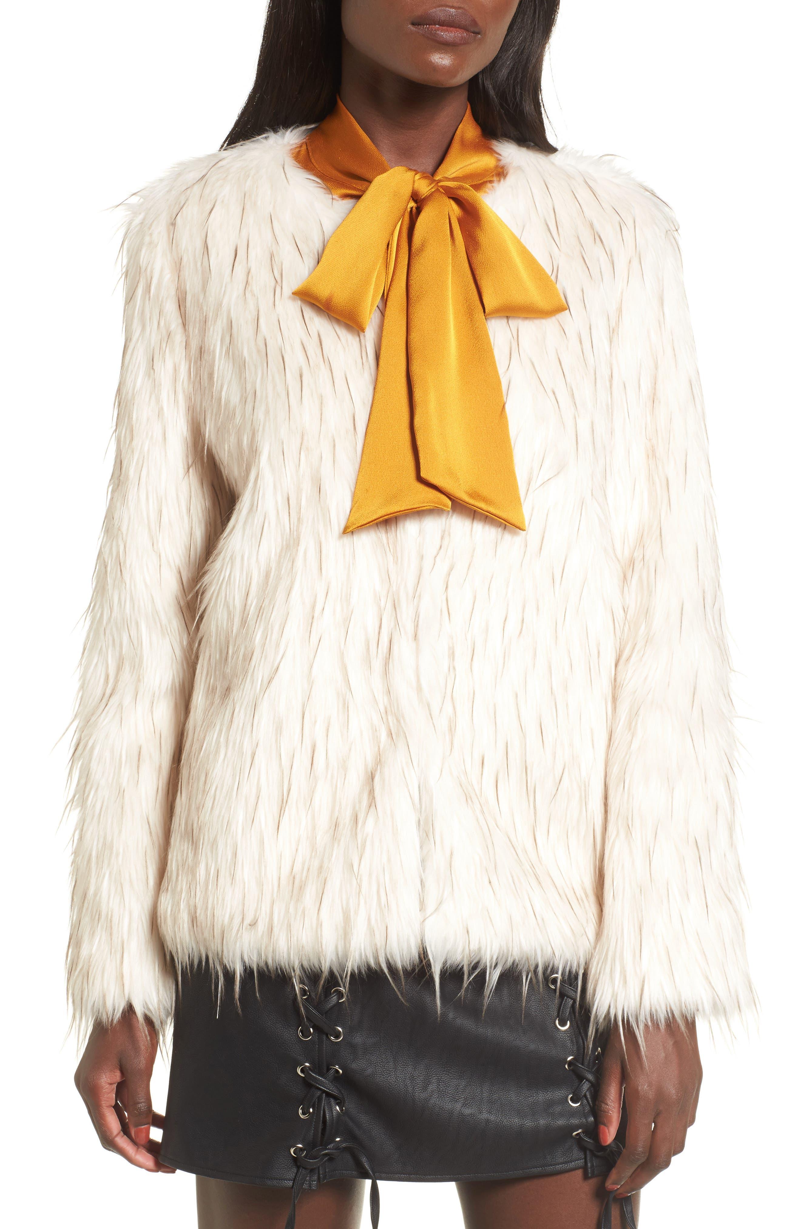 Aurora Faux Fur Jacket,                             Alternate thumbnail 5, color,                             Ivory
