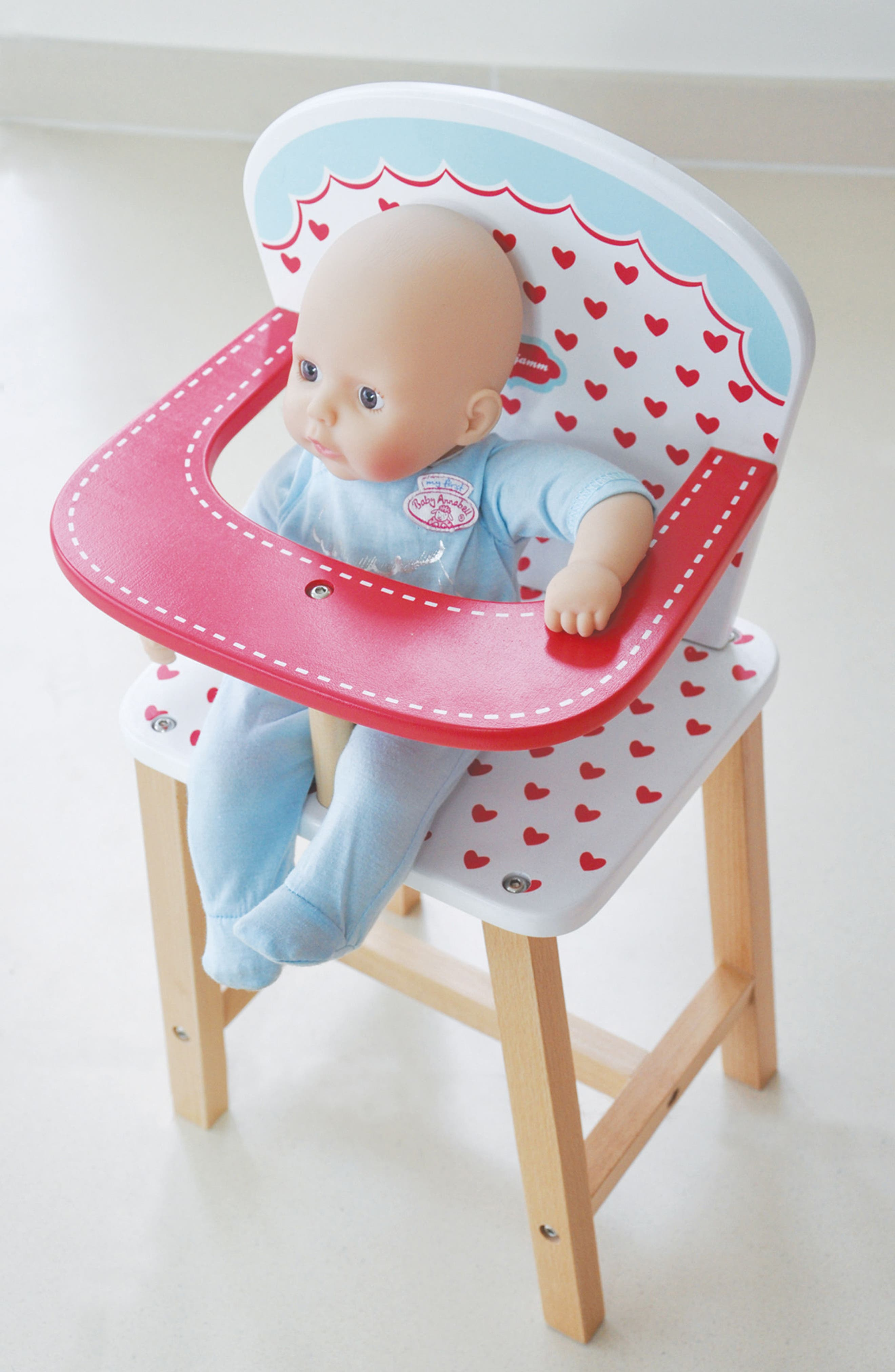 Hearts Highchair,                             Alternate thumbnail 3, color,                             Red