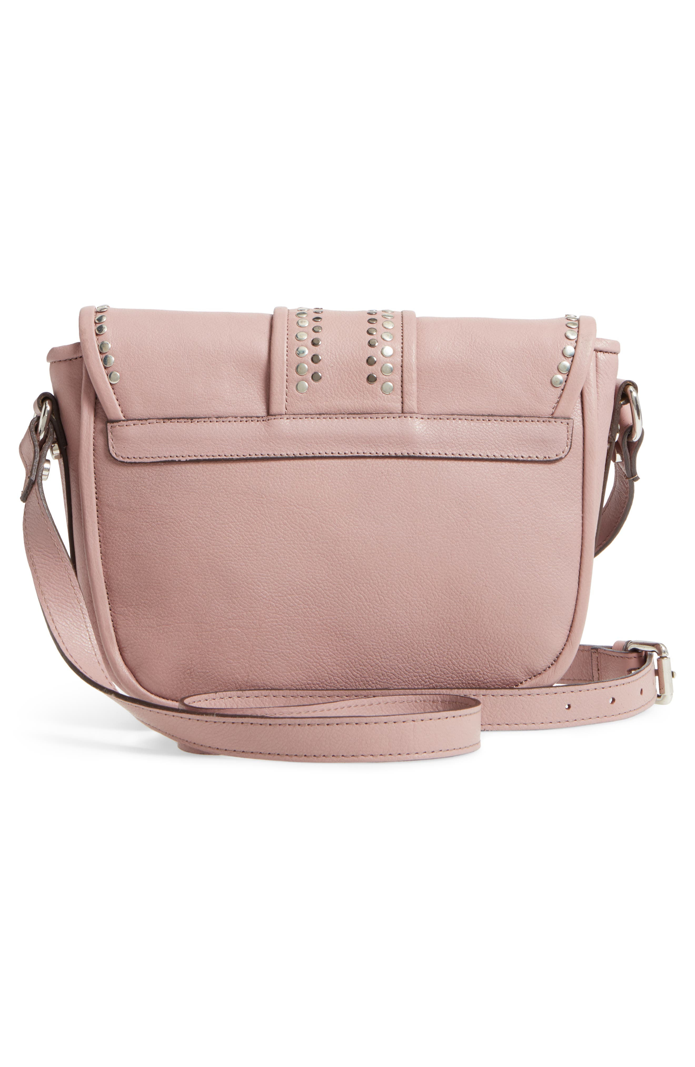 Premium Leather Studded Shoulder Bag,                             Alternate thumbnail 4, color,                             Blush