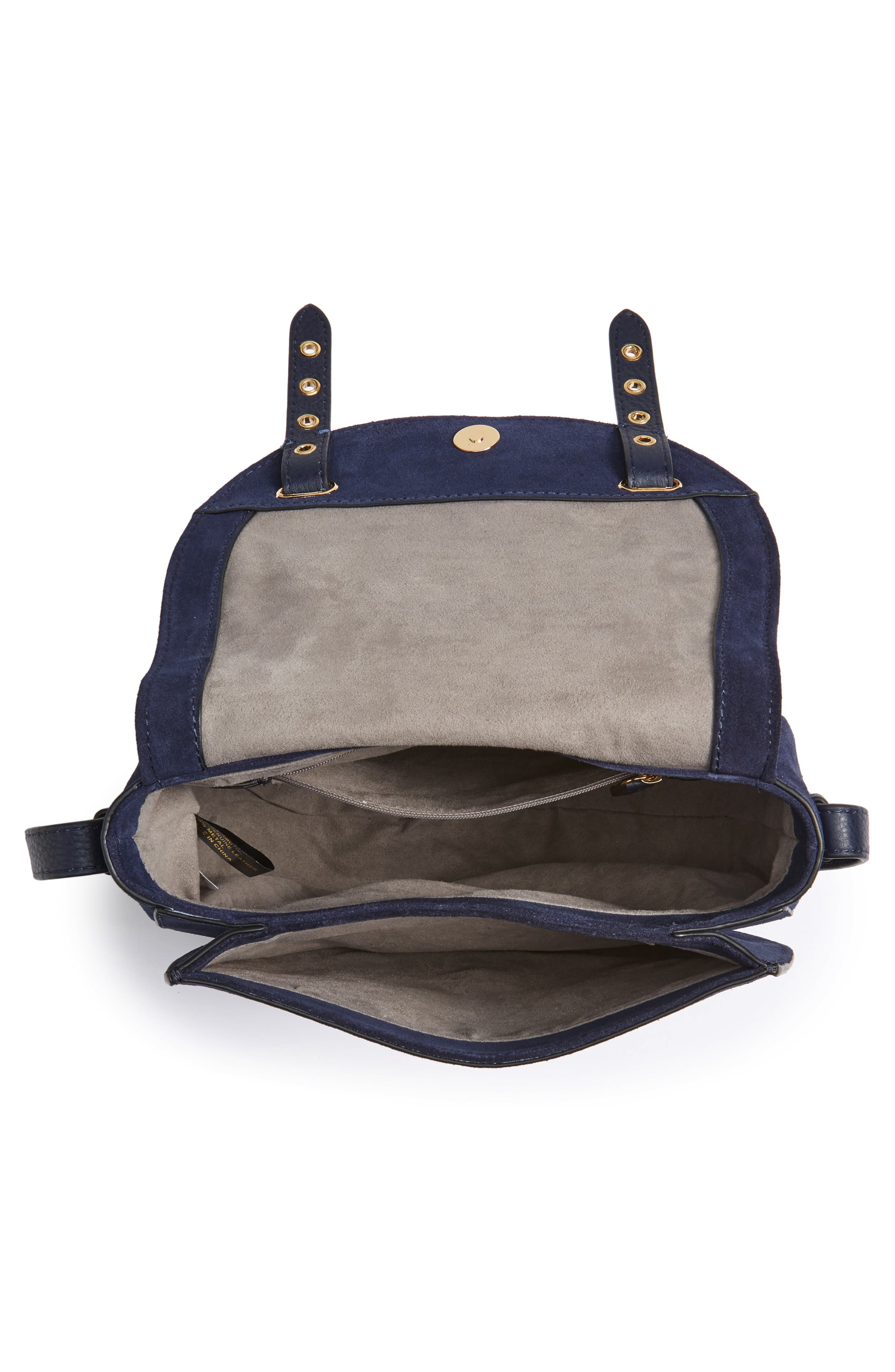 Areli Suede & Leather Crossbody Saddle Bag,                             Alternate thumbnail 4, color,                             Winter Navy
