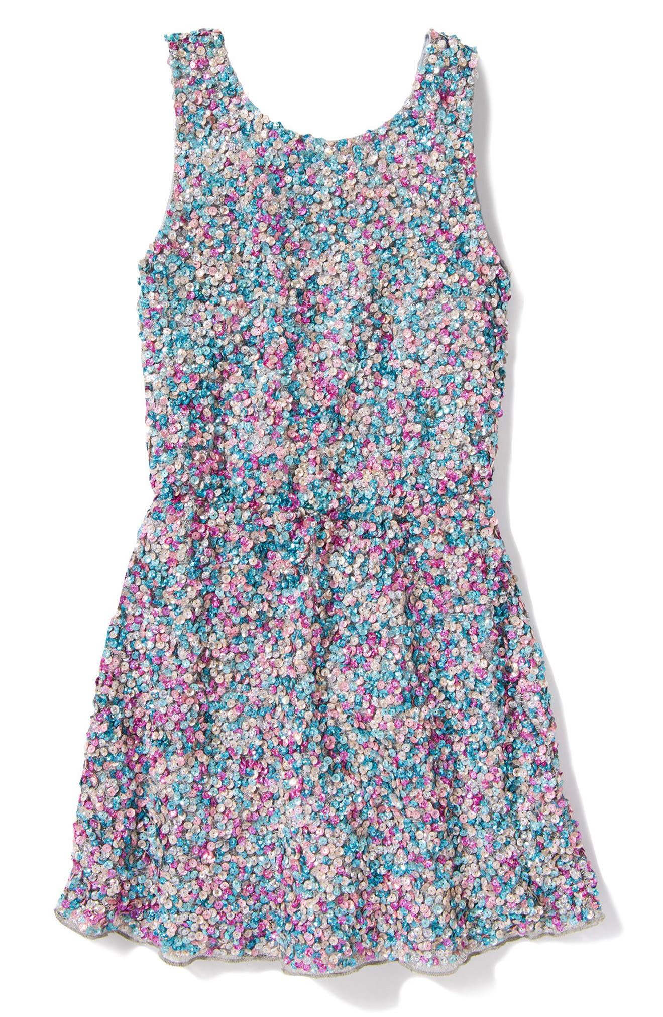 Zoe Sequin Dress,                             Main thumbnail 1, color,                             Blue