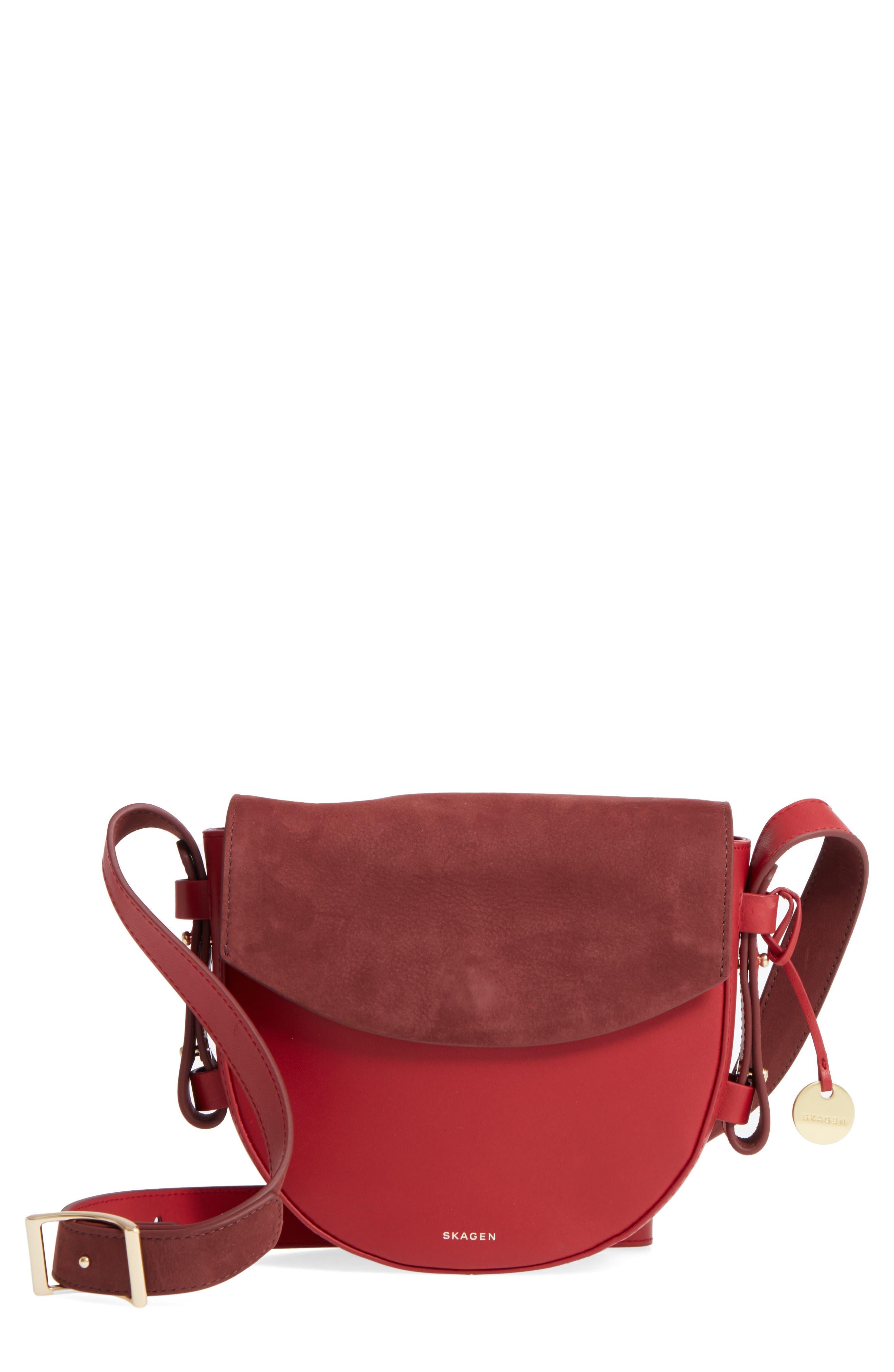 Skagen Lobelle Colorblock Leather & Suede Saddle Bag