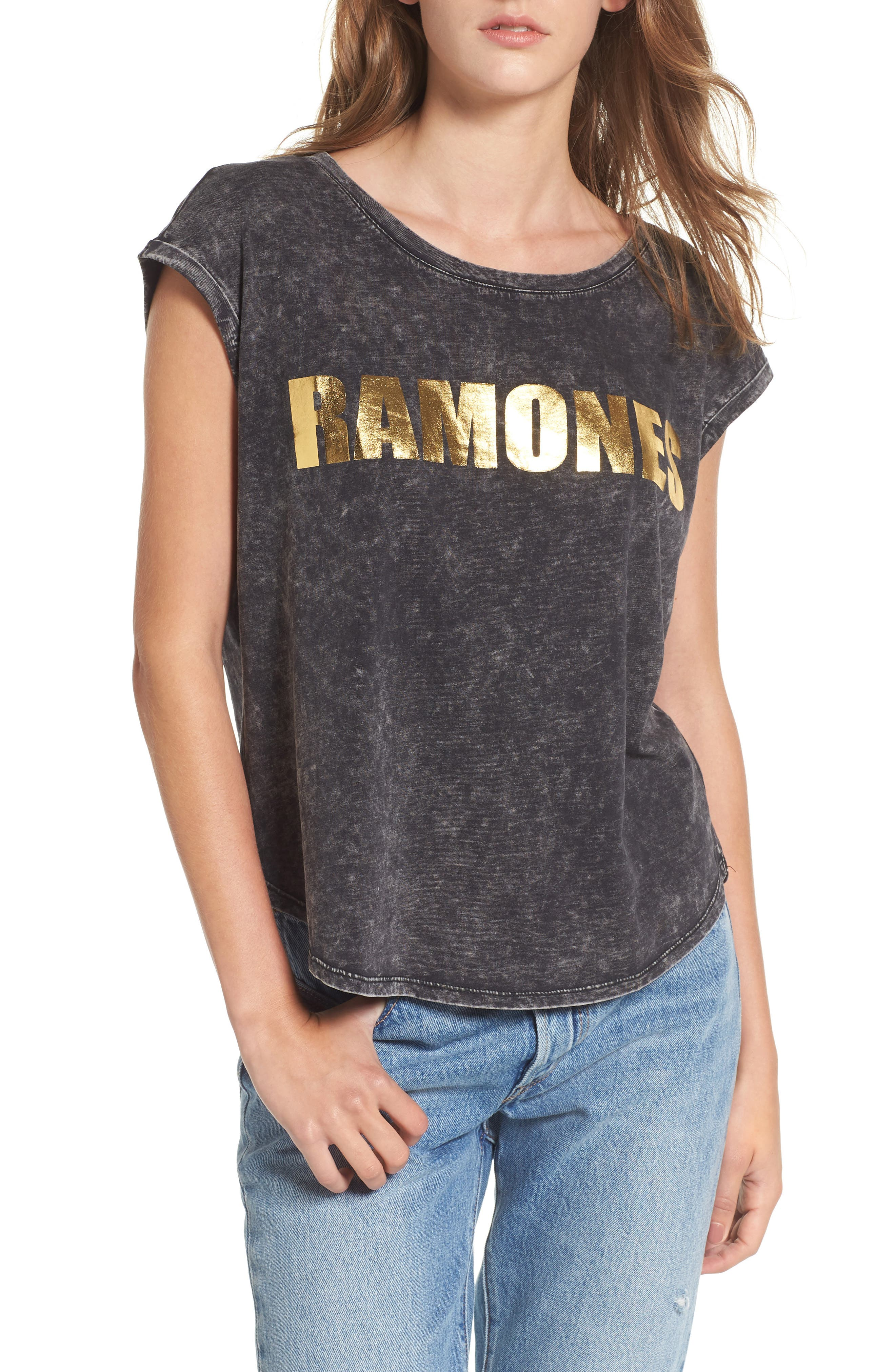Ramones Stonewashed Tee,                         Main,                         color, Black
