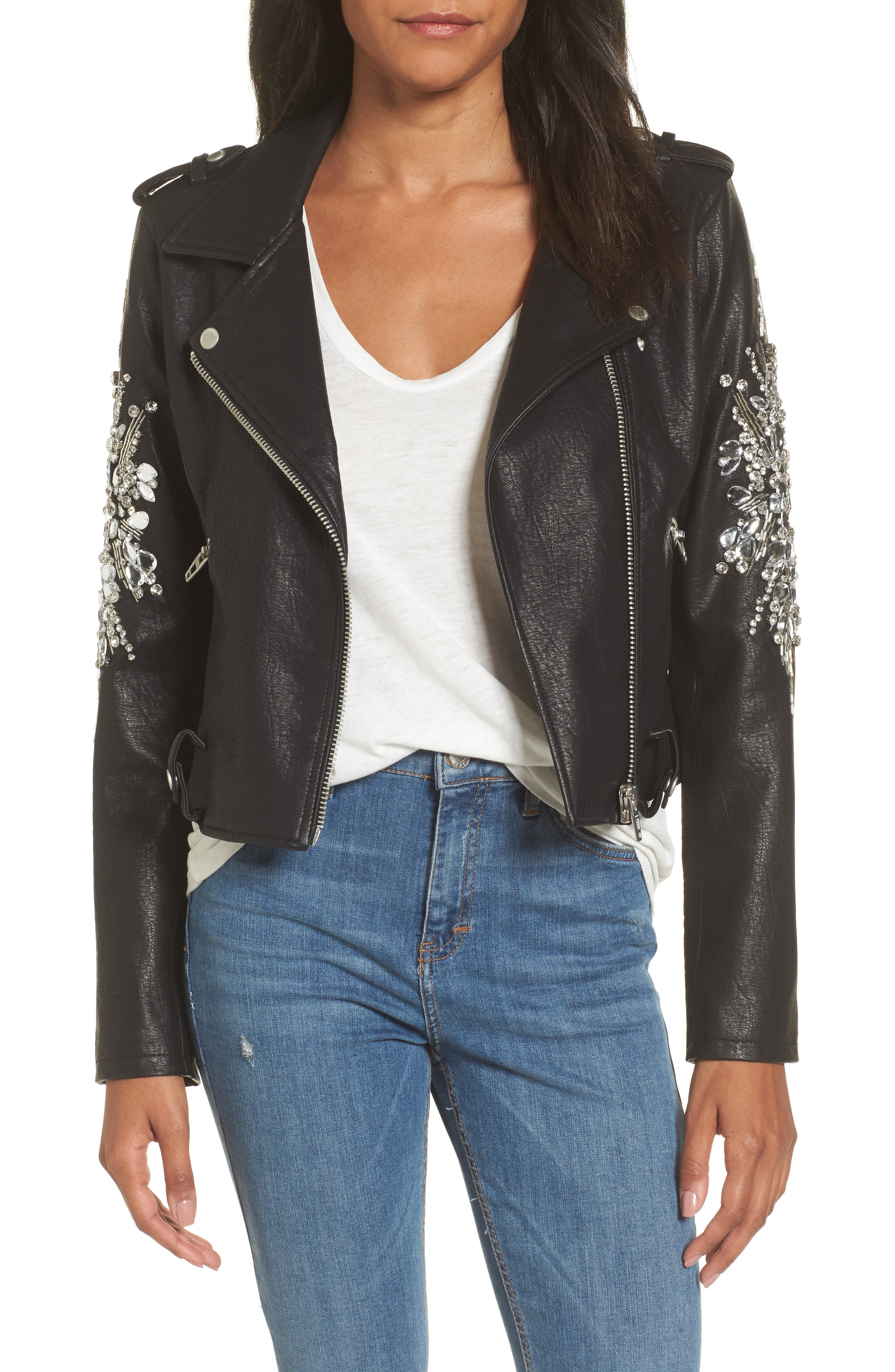 Embellished Faux Leather Moto Jacket,                             Main thumbnail 1, color,                             Crown Jewels