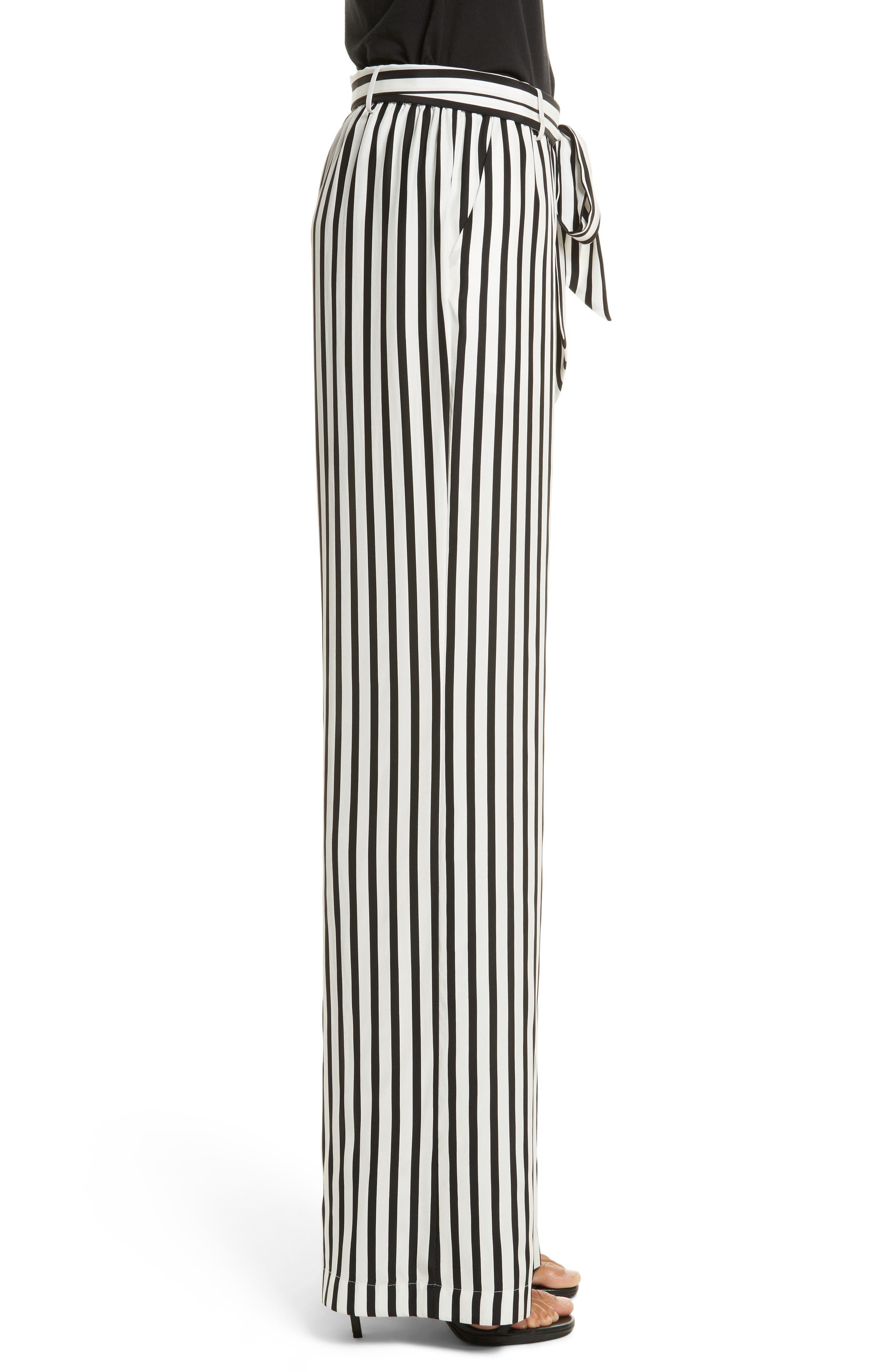 Stripe Wide Leg Silk Pants,                             Alternate thumbnail 4, color,                             Noir Multi