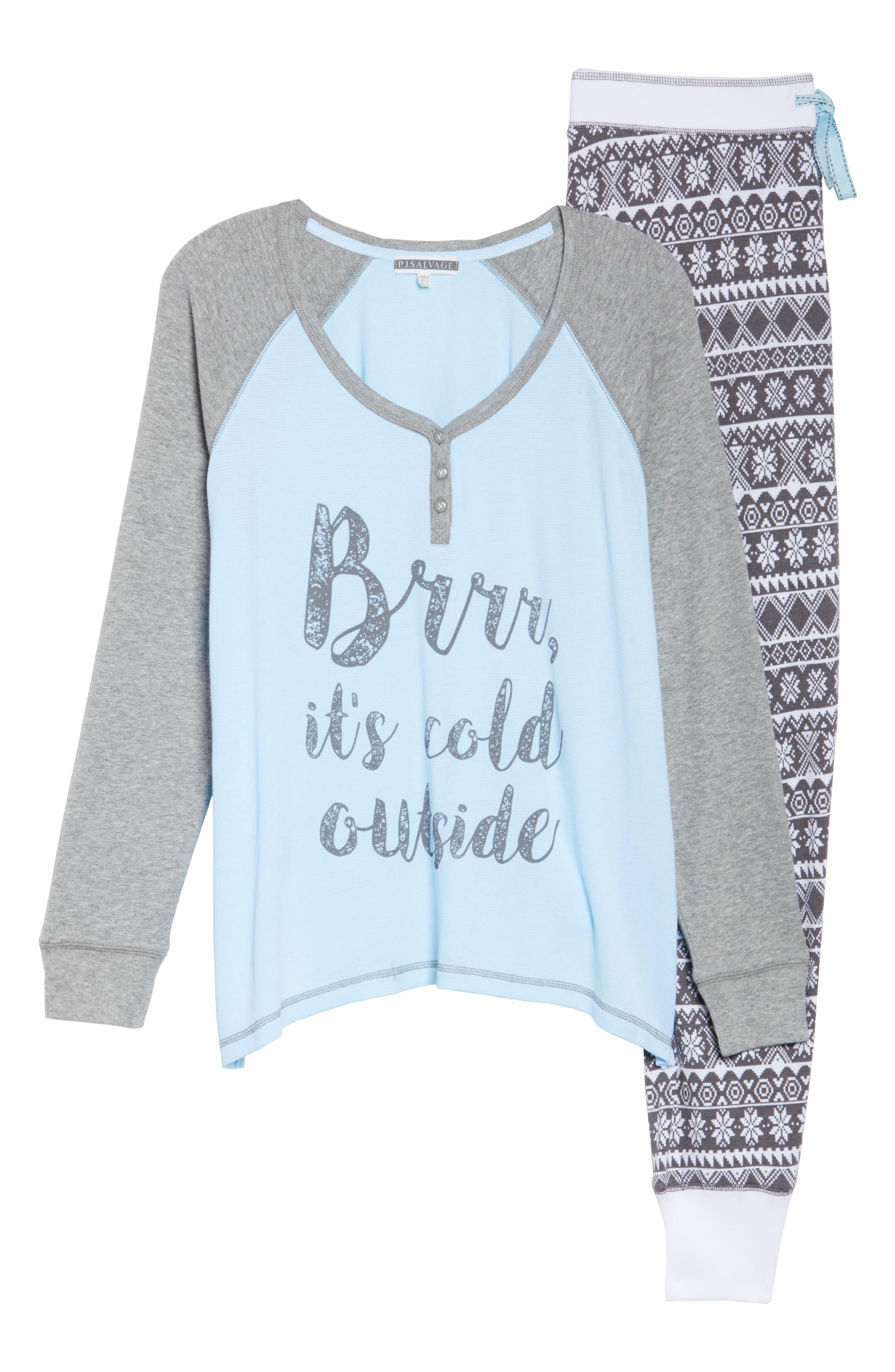 Thermal Pajamas,                             Alternate thumbnail 4, color,                             Grey
