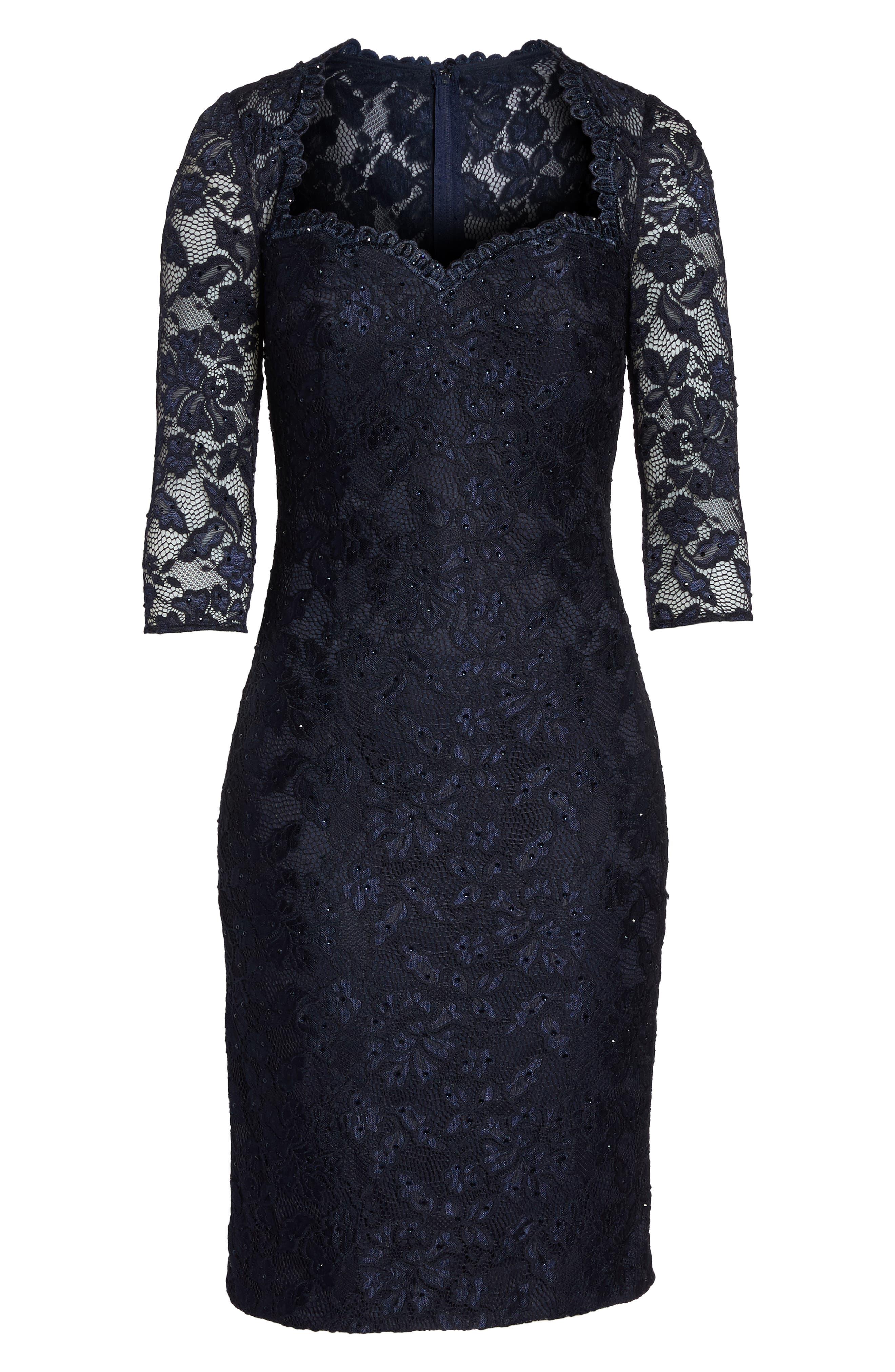Alternate Image 6  - La Femme Sweetheart Lace Sheath Dress