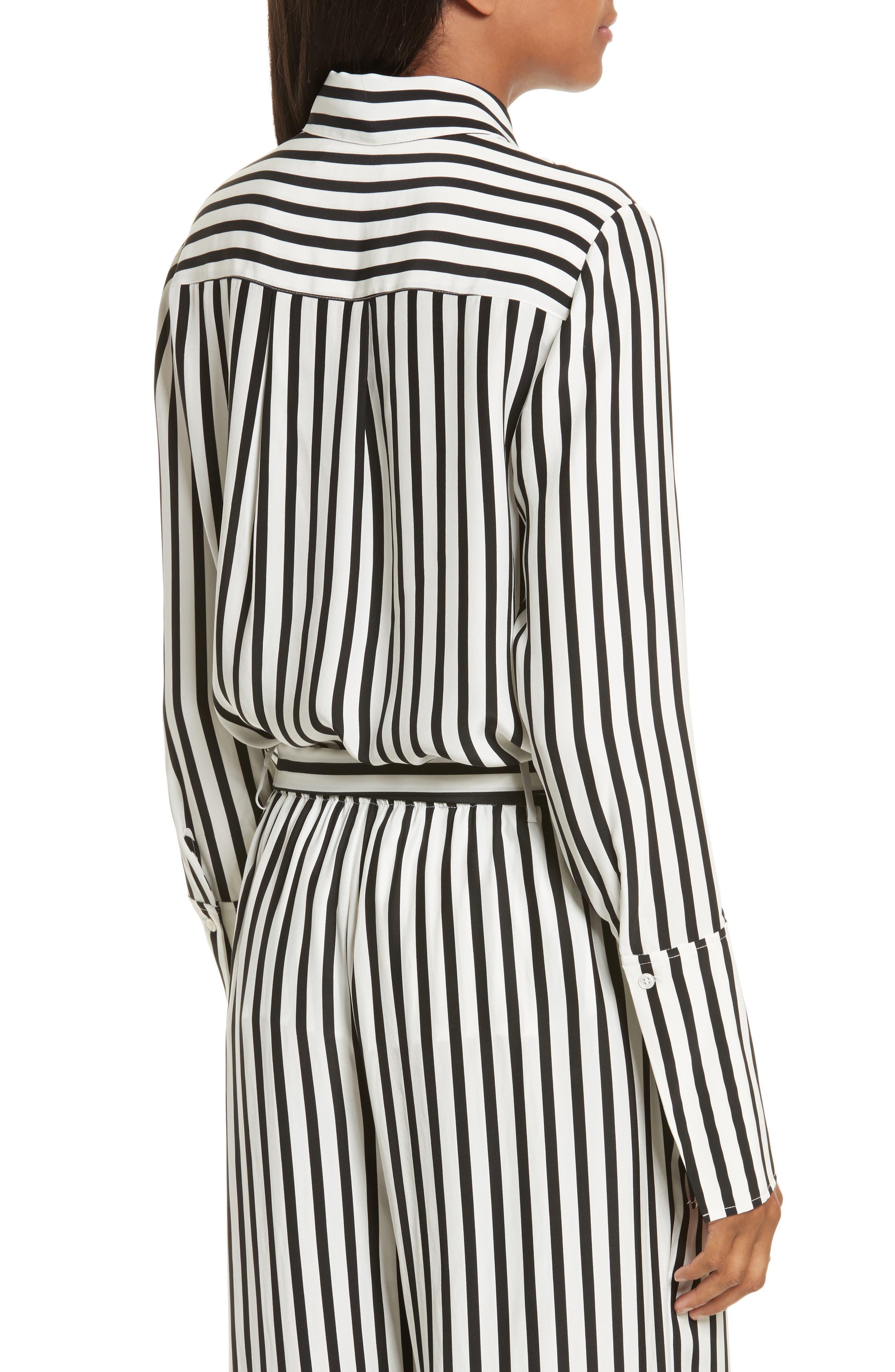 Stripe Silk Shirt,                             Alternate thumbnail 2, color,                             Noir Multi