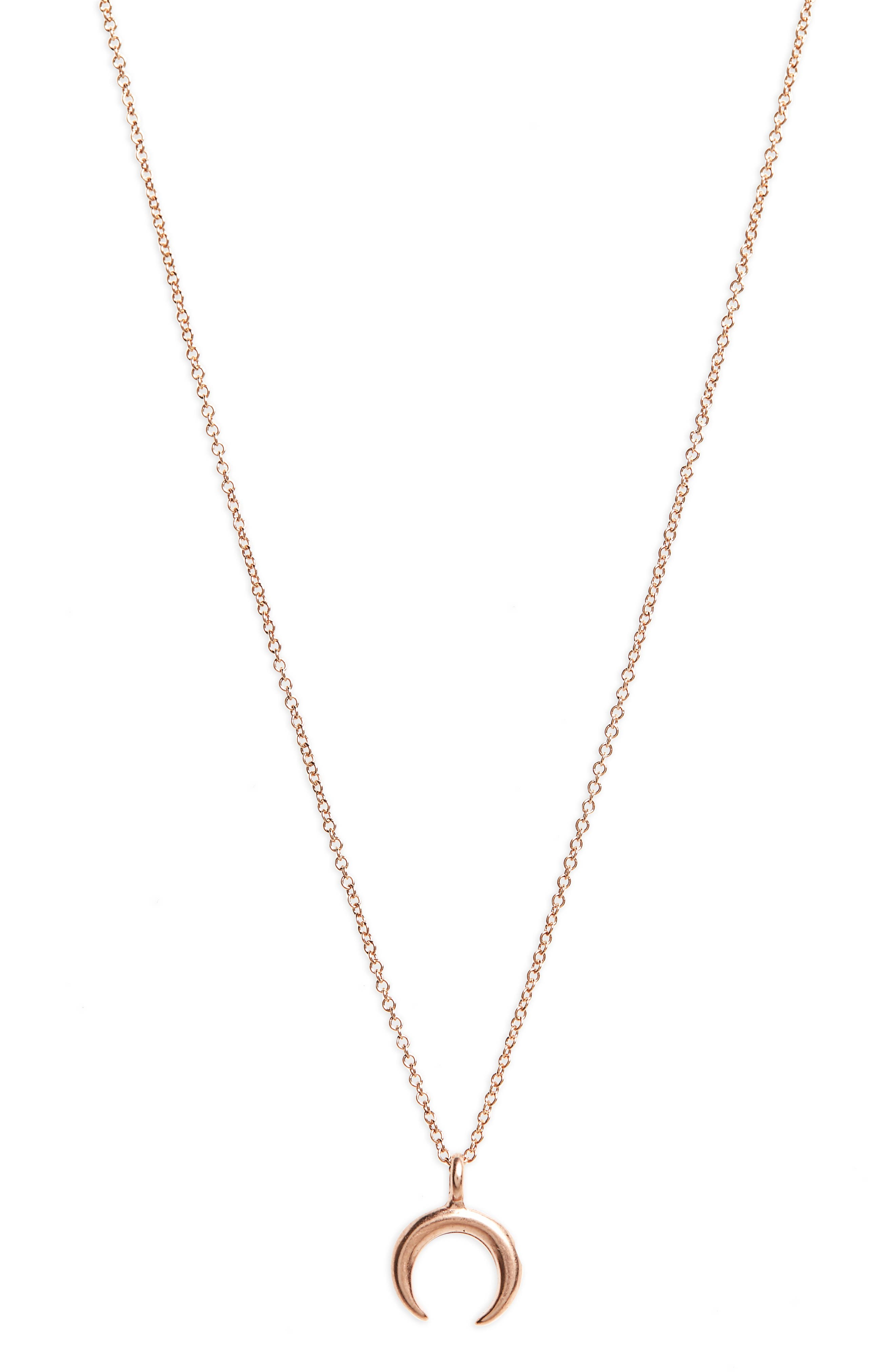 Let Imagination Shine Crescent Pendant Necklace,                             Main thumbnail 1, color,                             Rose Gold