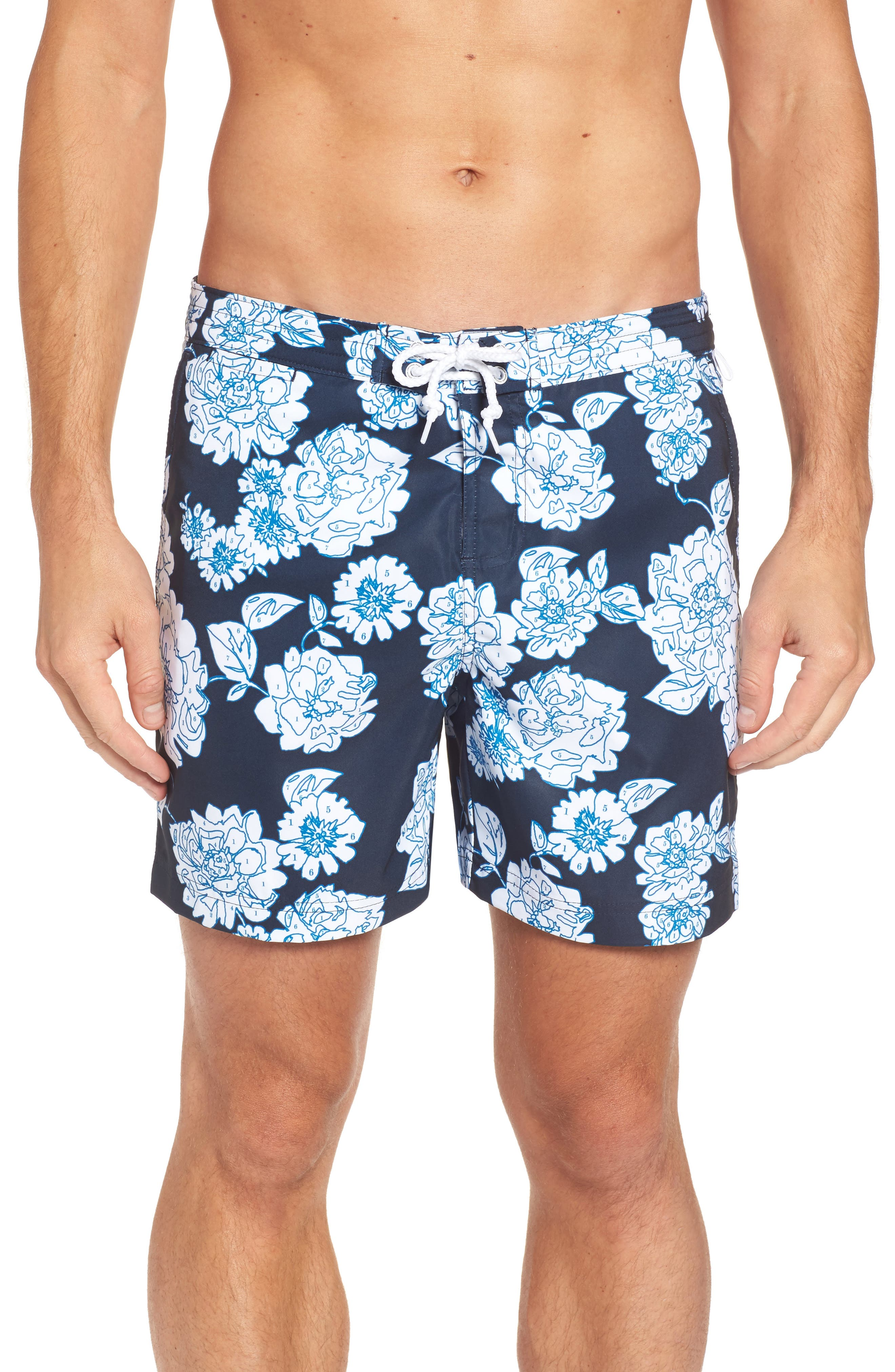 Original Penguin Color by Numbers Swim Trunks