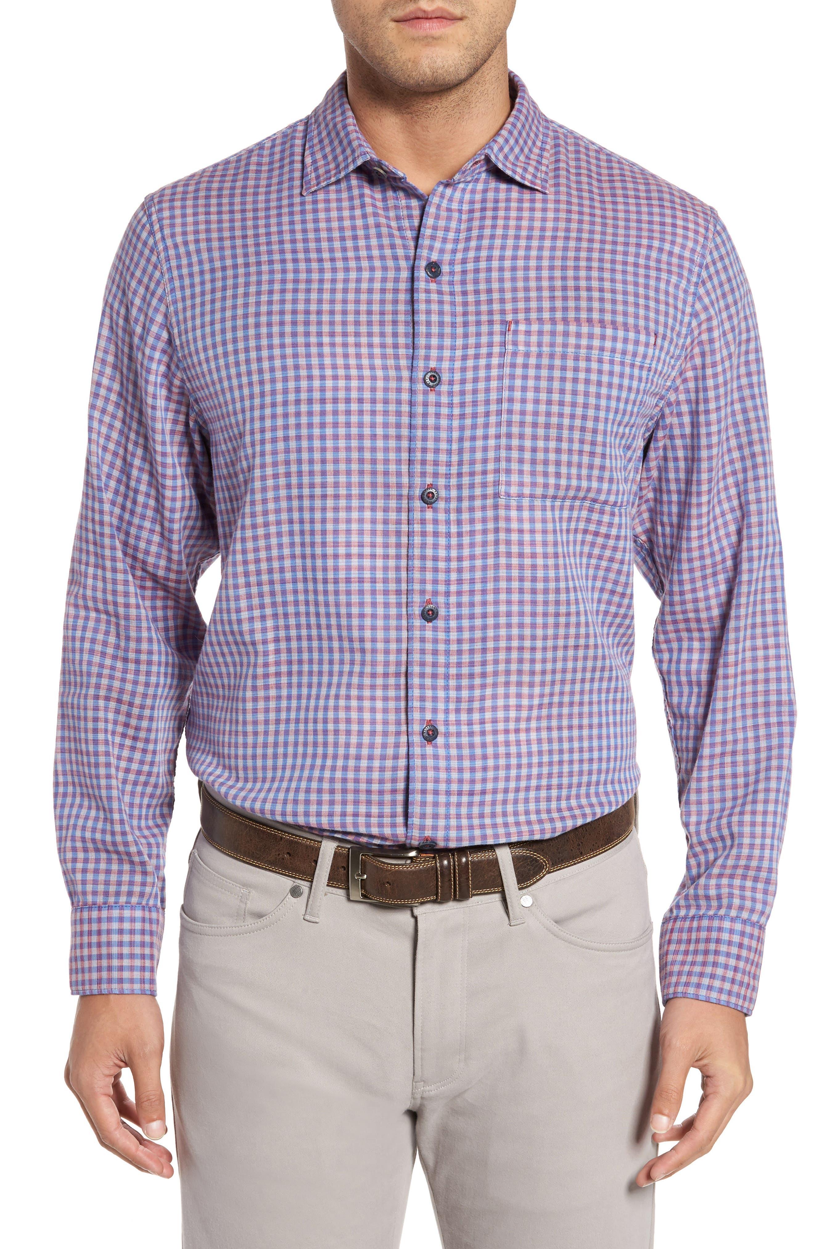 Dual Lux Gingham Sport Shirt,                         Main,                         color, Bering Blue