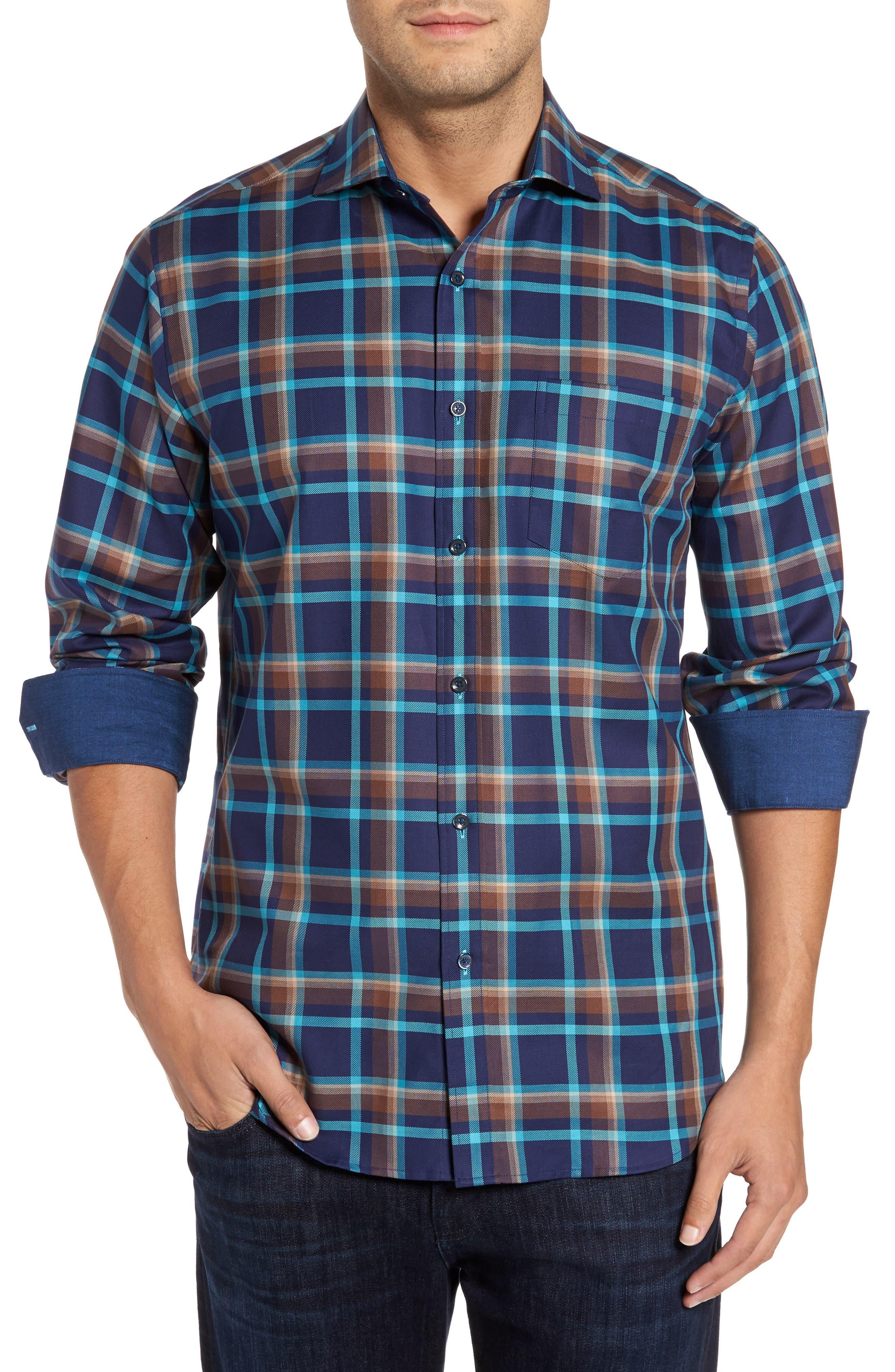 Classic Fit Check Sport Shirt,                             Main thumbnail 1, color,                             Navy