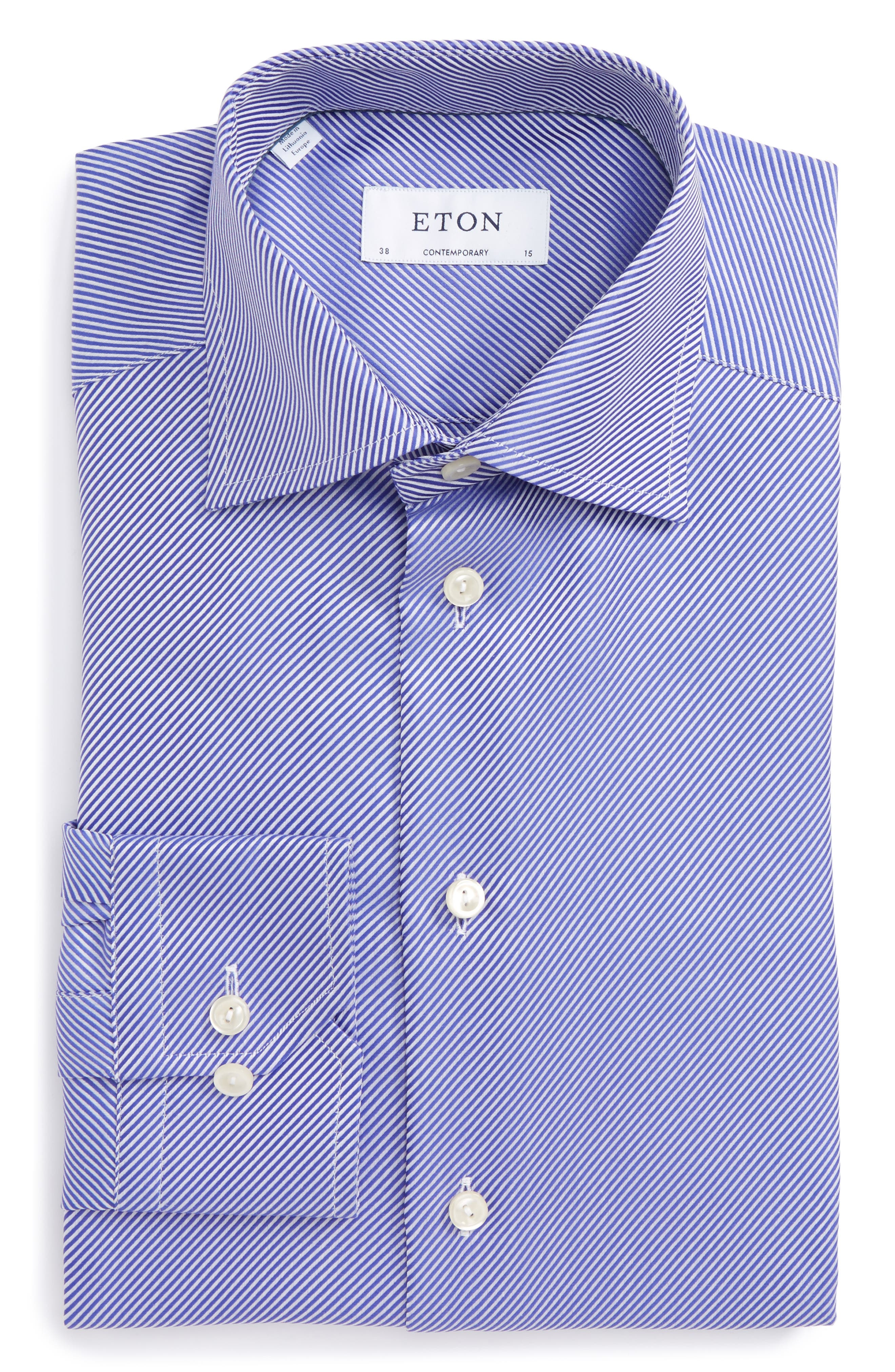 Eton Contemporary Fit Stripe Dress Shirt