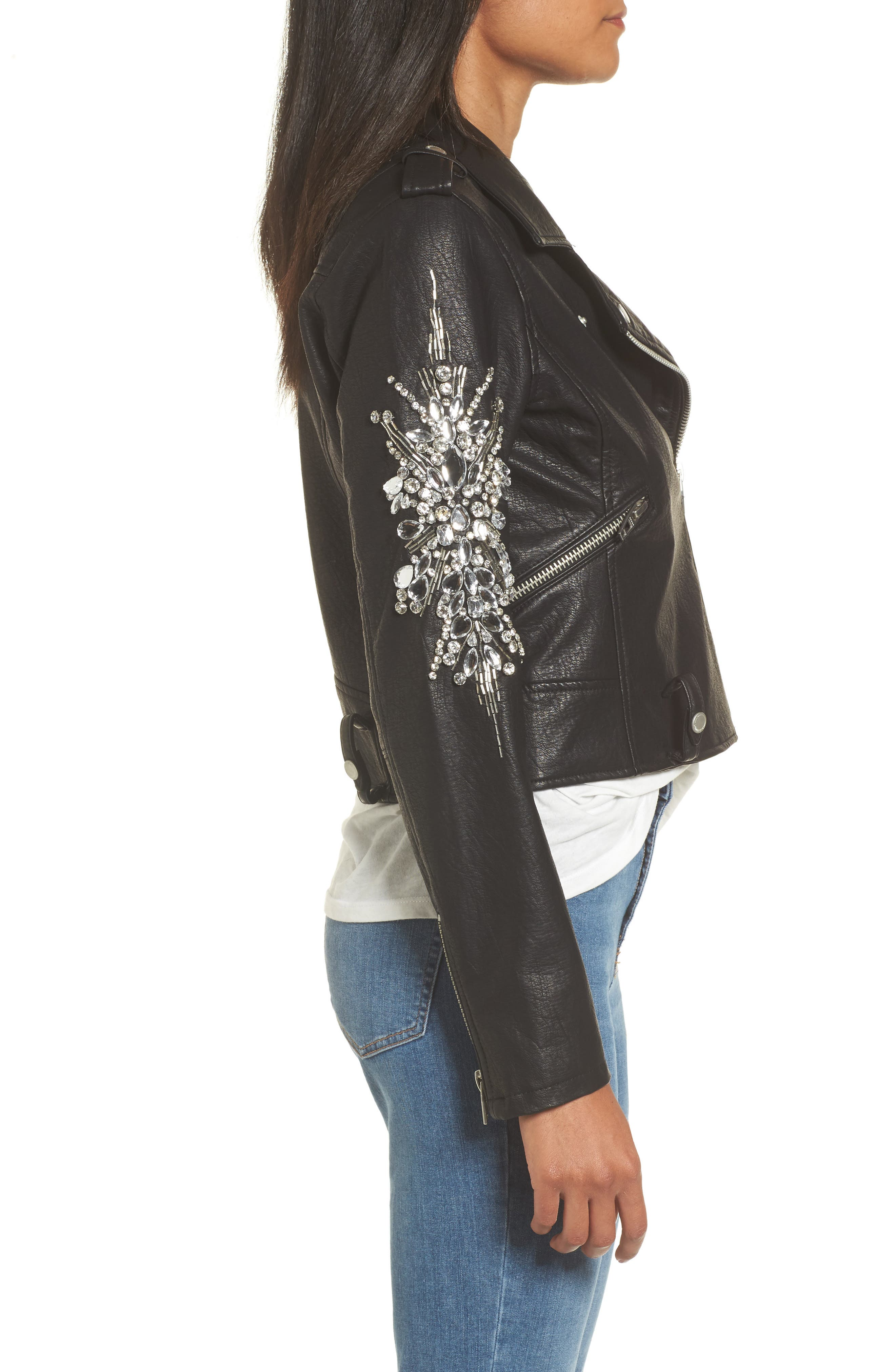 Embellished Faux Leather Moto Jacket,                             Alternate thumbnail 3, color,                             Crown Jewels