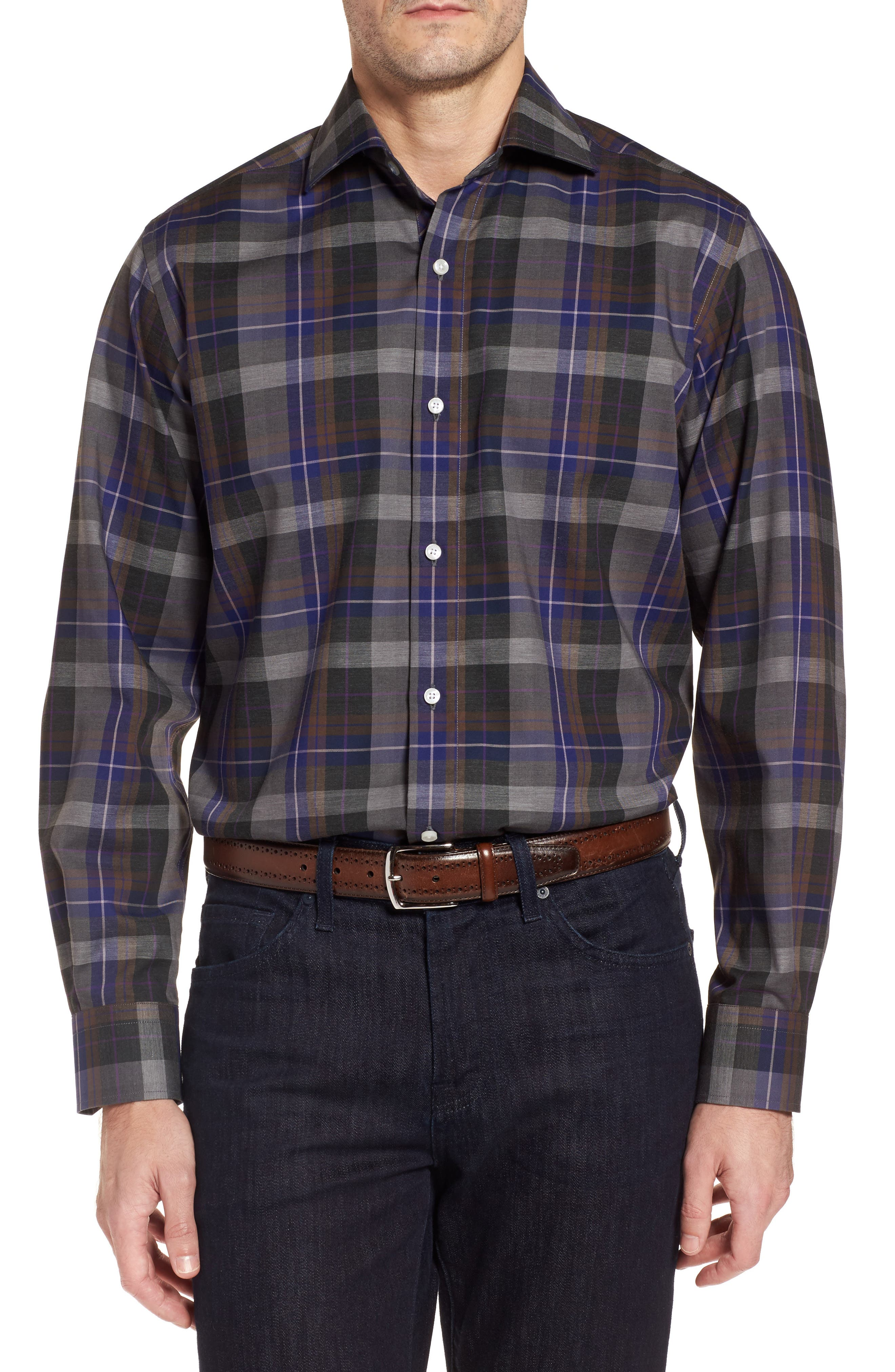 Cullen Plaid Twill Sport Shirt,                             Main thumbnail 1, color,                             Blue