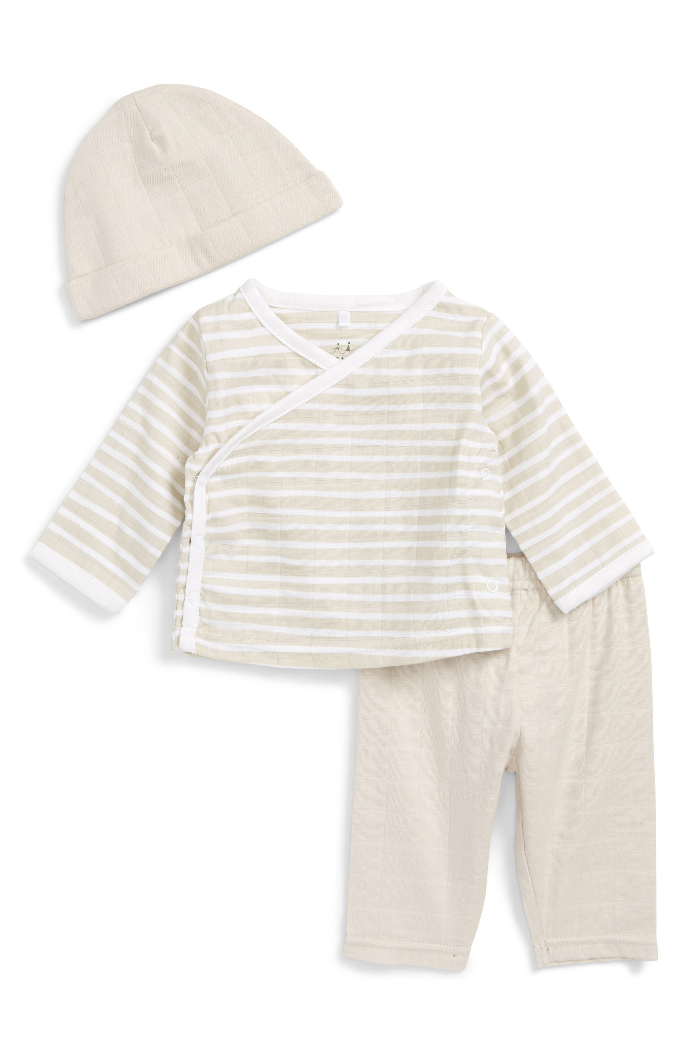 Alternate Image 1 Selected - aden + anais Quilted Shirt, Pants & Beanie Set (Baby)