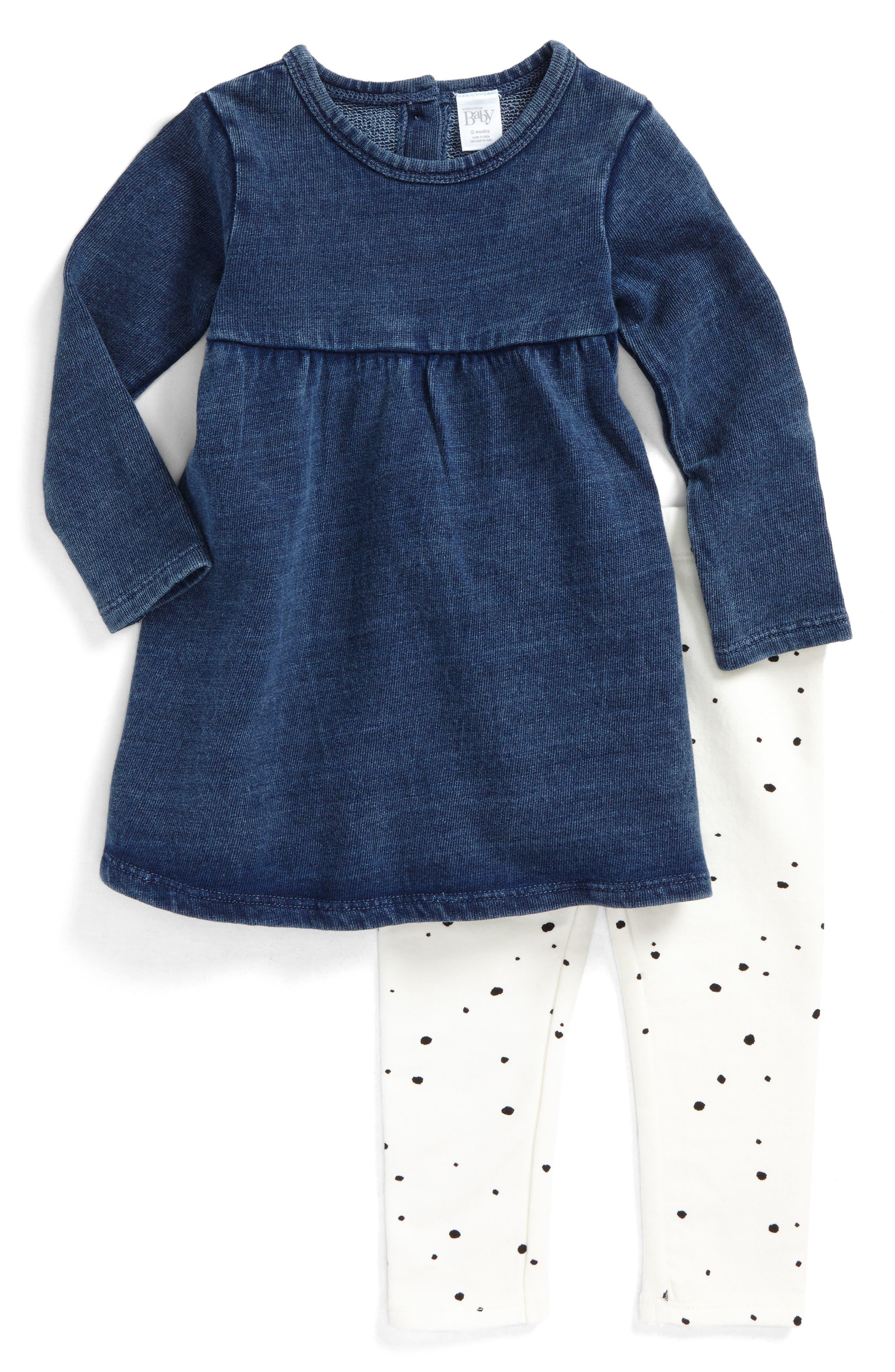 French Terry Dress & Dot Leggings Set,                         Main,                         color, Blue Indigo- Ivory