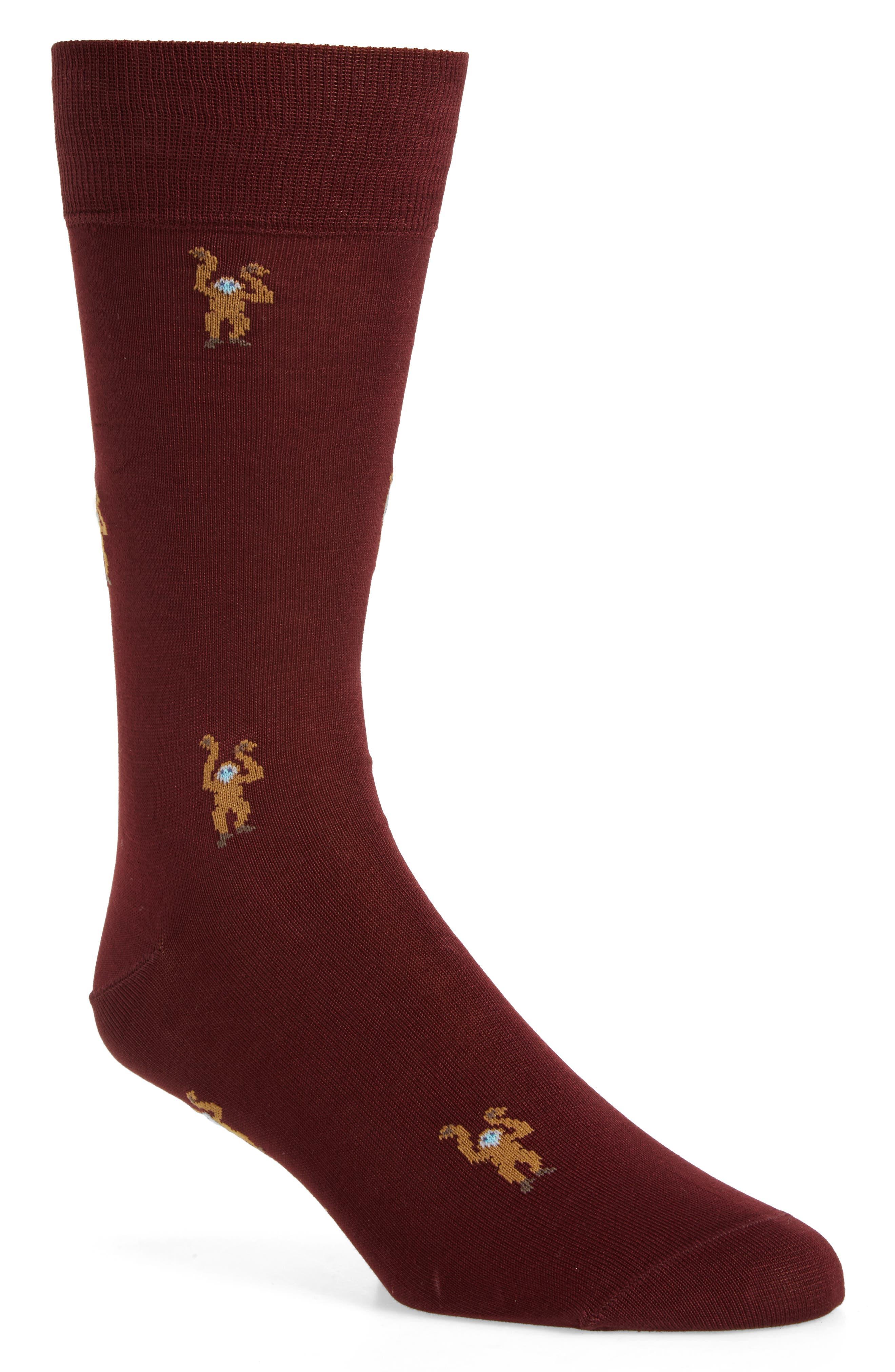 Monkey Socks,                             Main thumbnail 1, color,                             Burgundy
