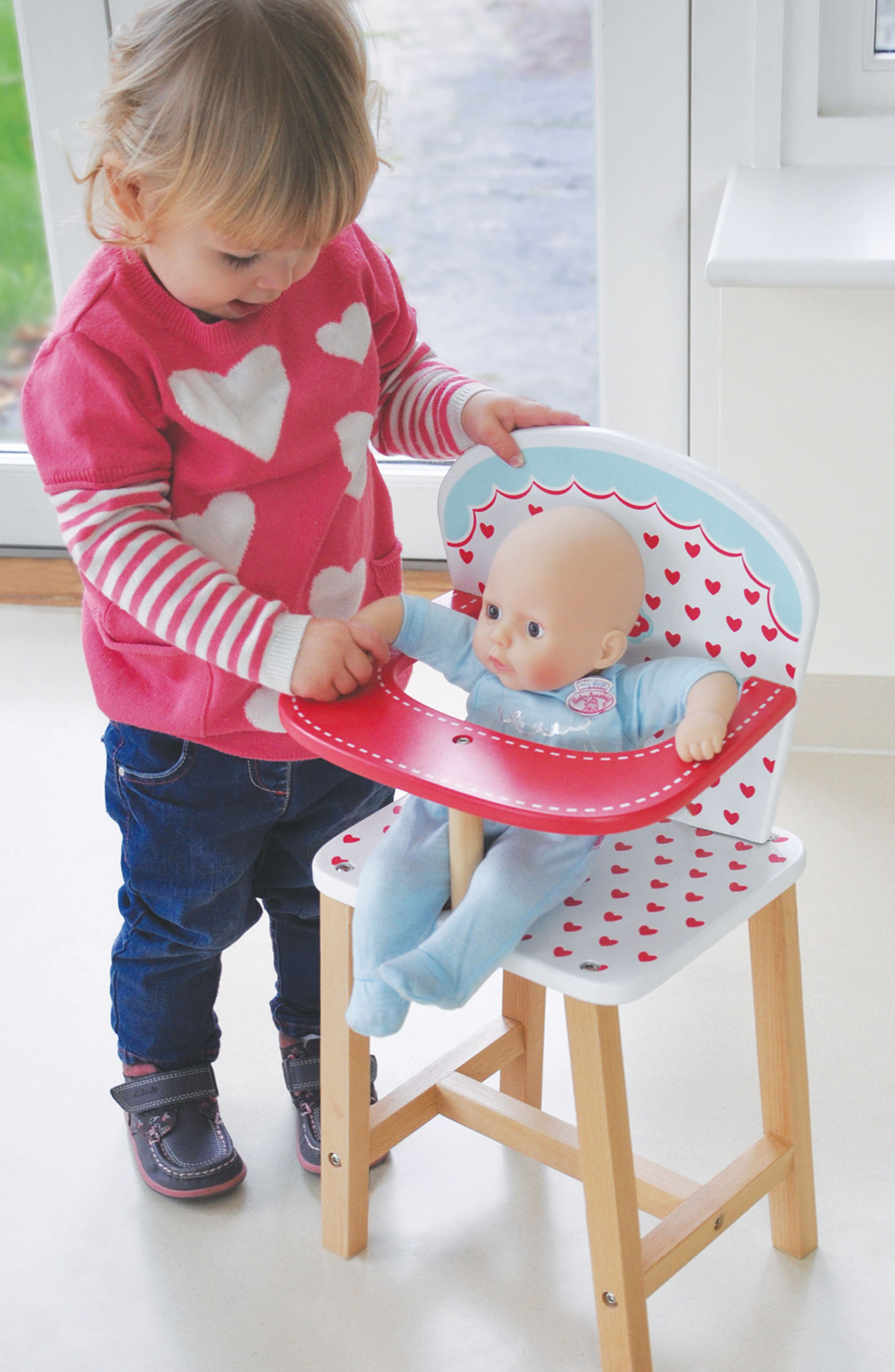 Hearts Highchair,                             Alternate thumbnail 4, color,                             Red