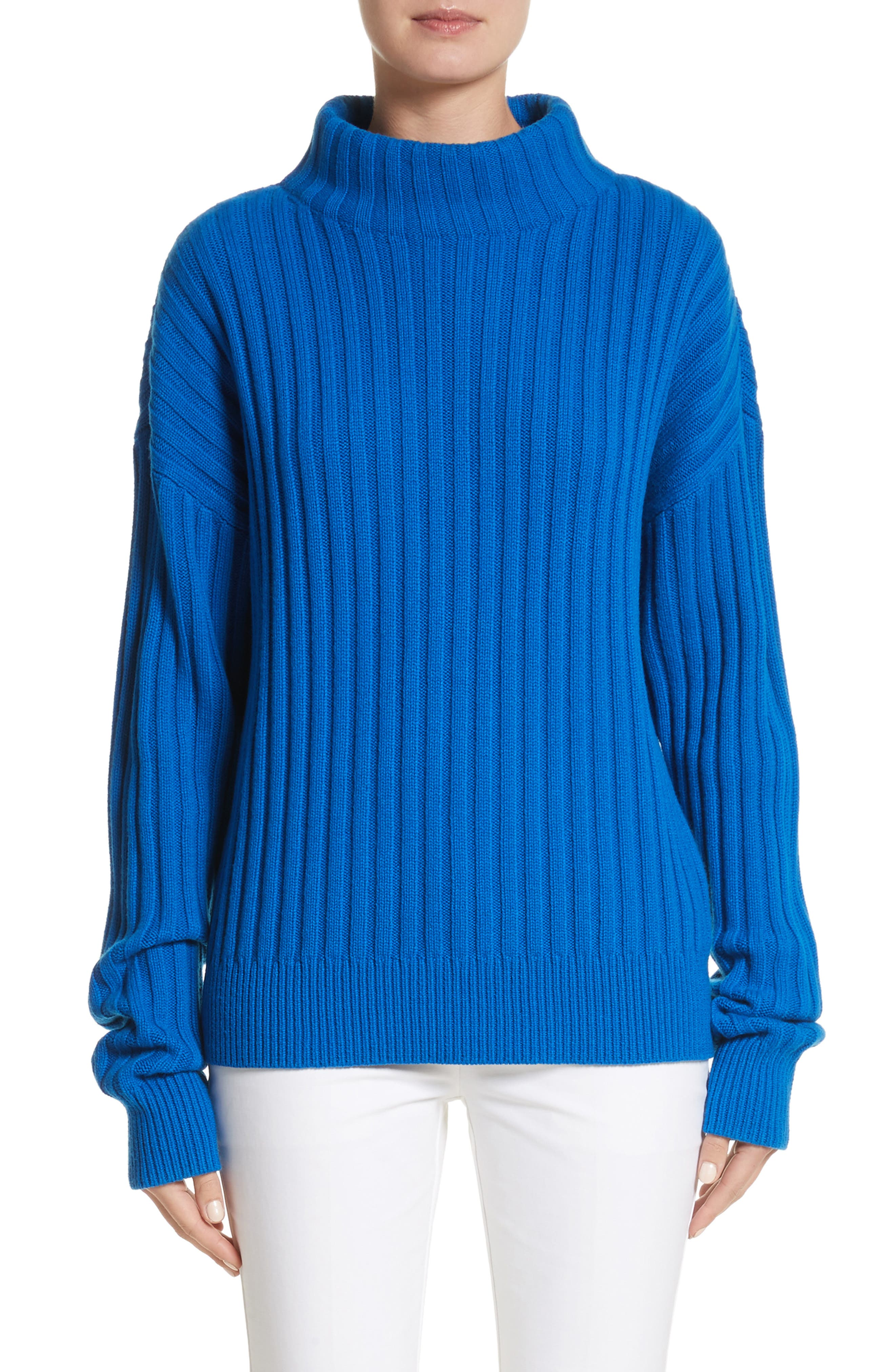 Cashmere Funnel Neck Pullover,                             Main thumbnail 1, color,                             Mediterranean