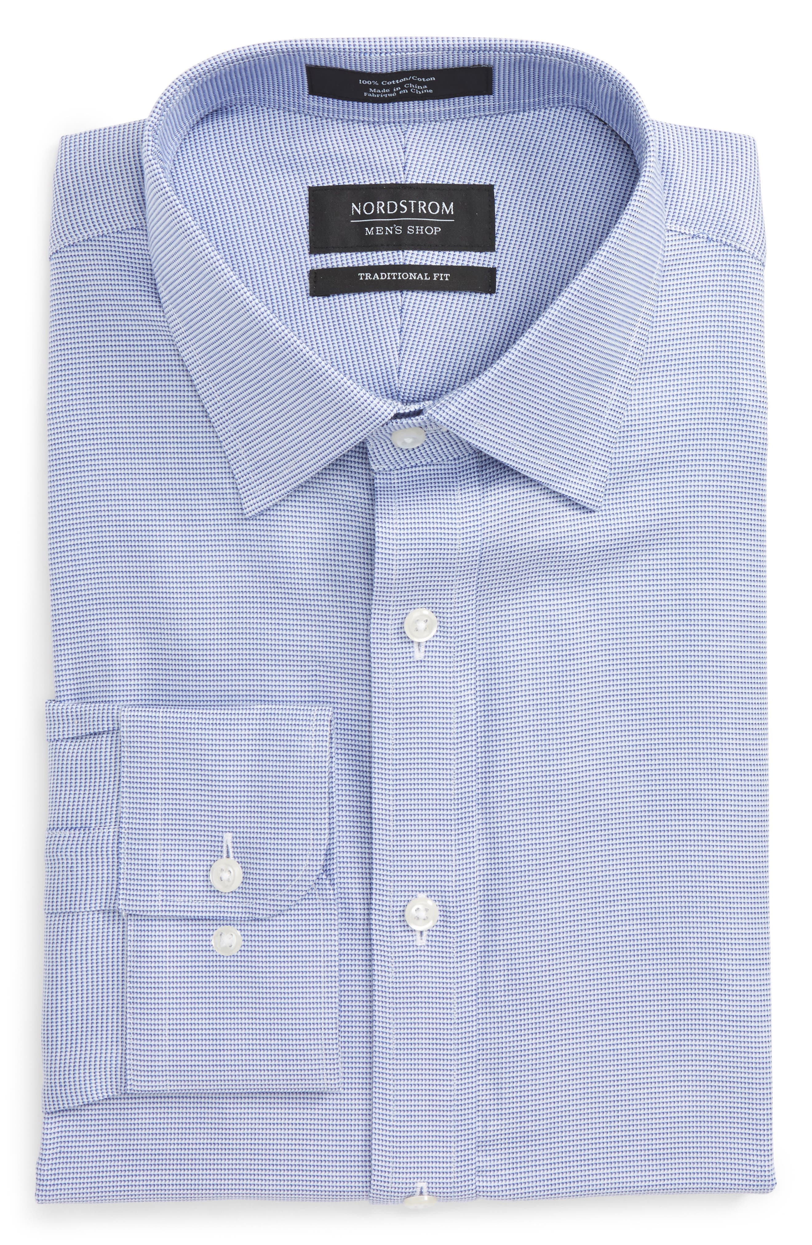 Traditional Fit Solid Dress Shirt,                         Main,                         color, Blue Marine