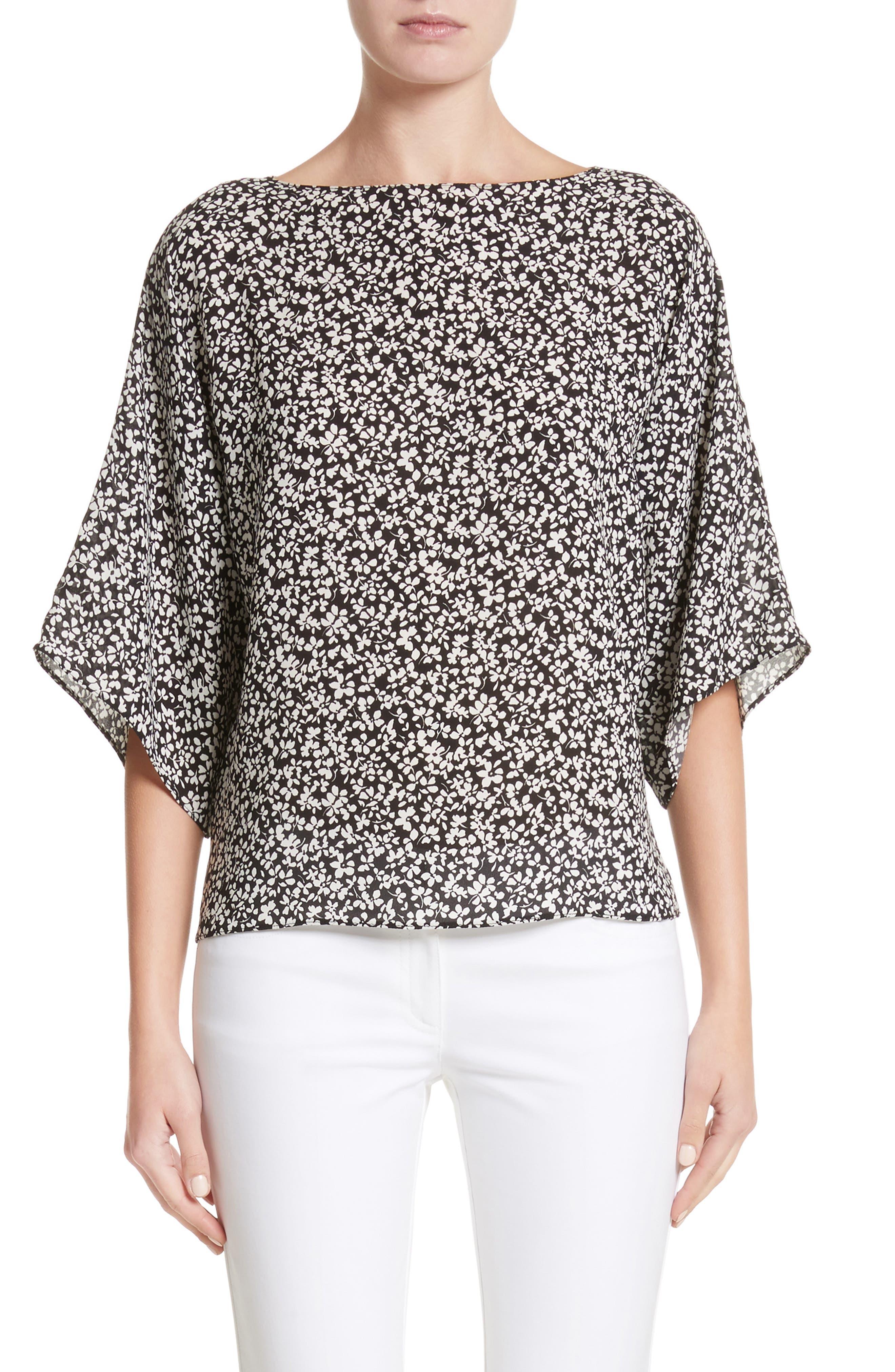Floral Silk Blouse,                         Main,                         color, Black/White