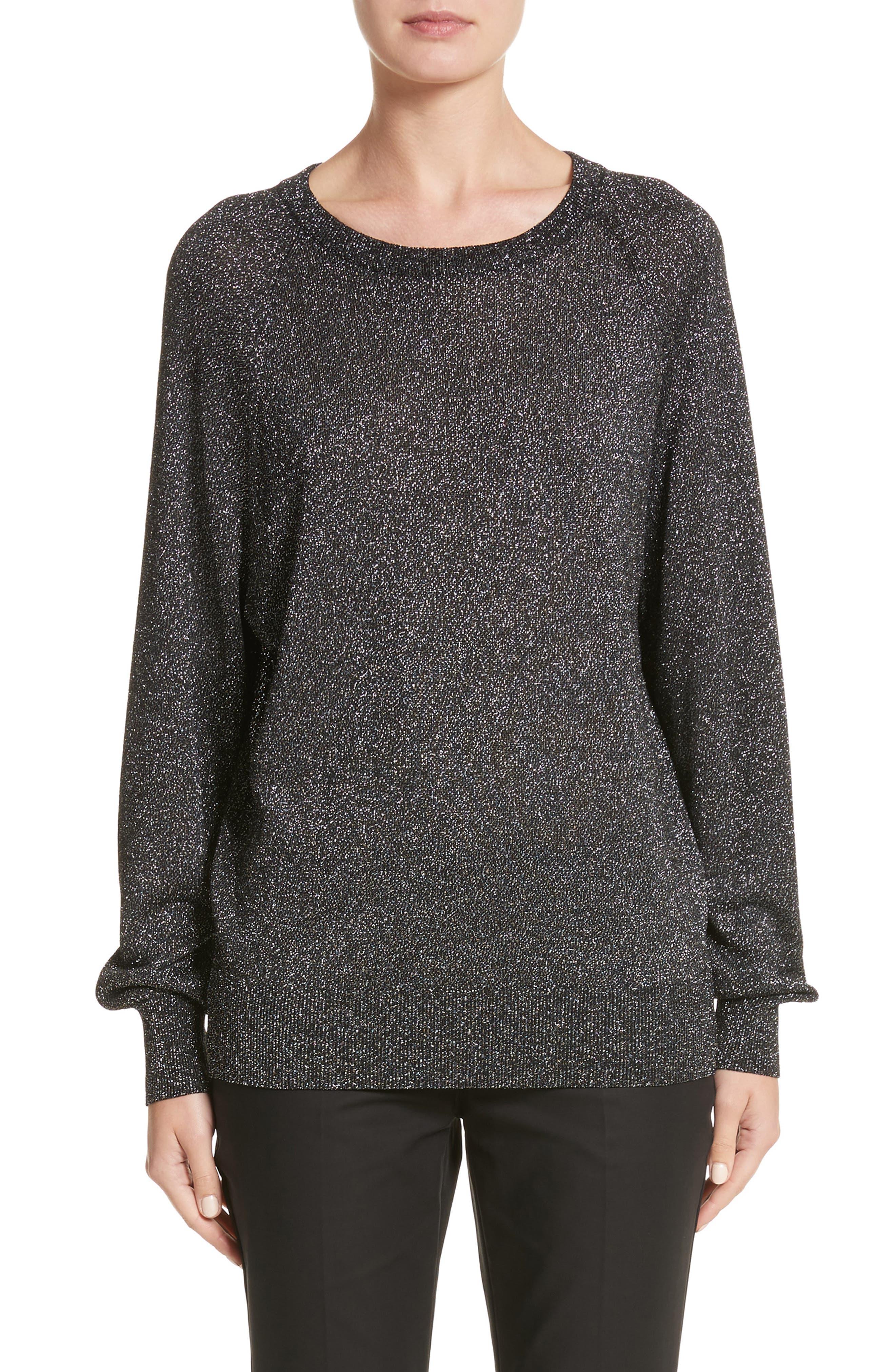 Michael Kors Metallic Knit Raglan Pullover