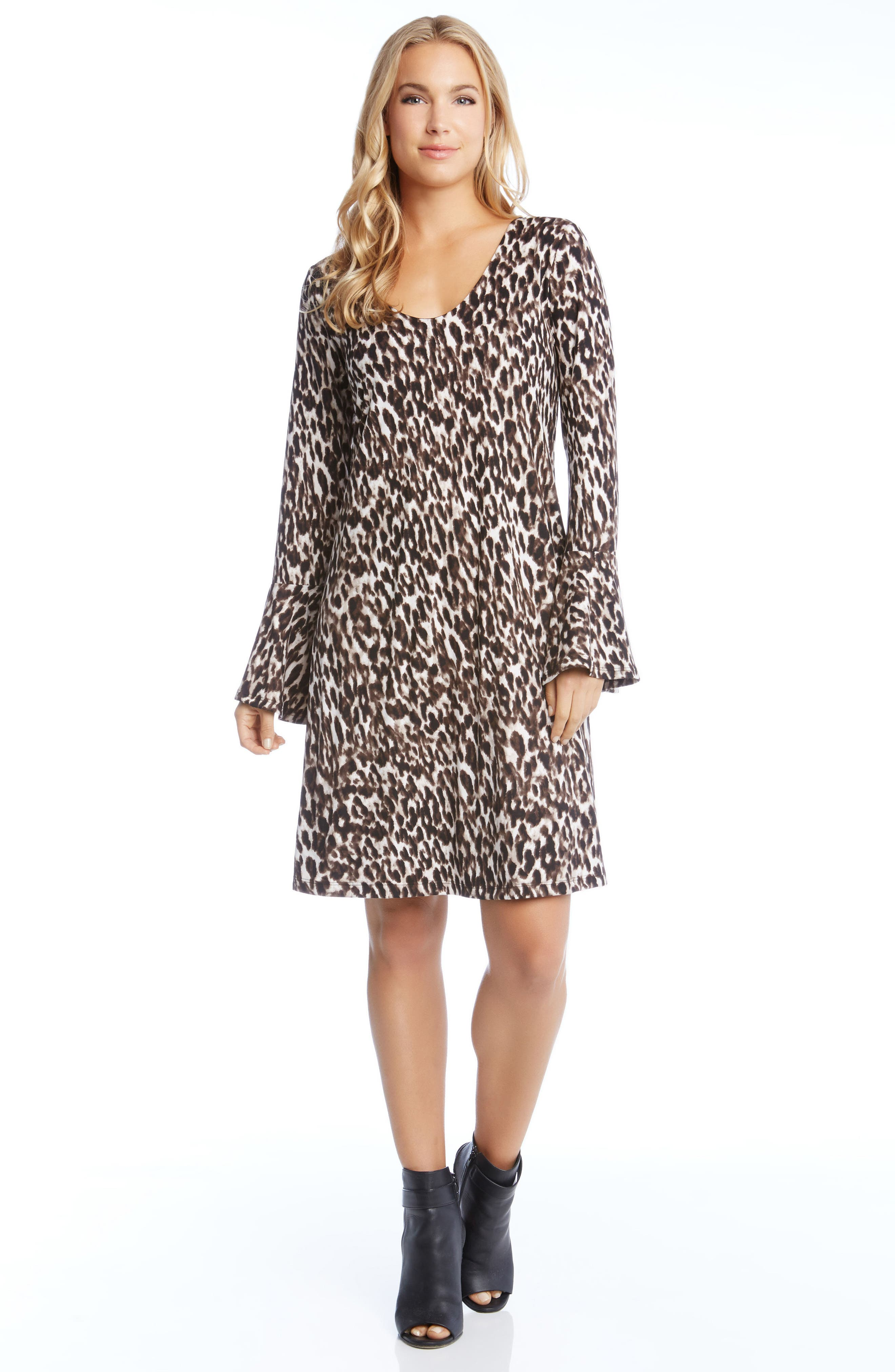 Bell Sleeve Brushed Knit Dress,                             Alternate thumbnail 3, color,                             Leopard