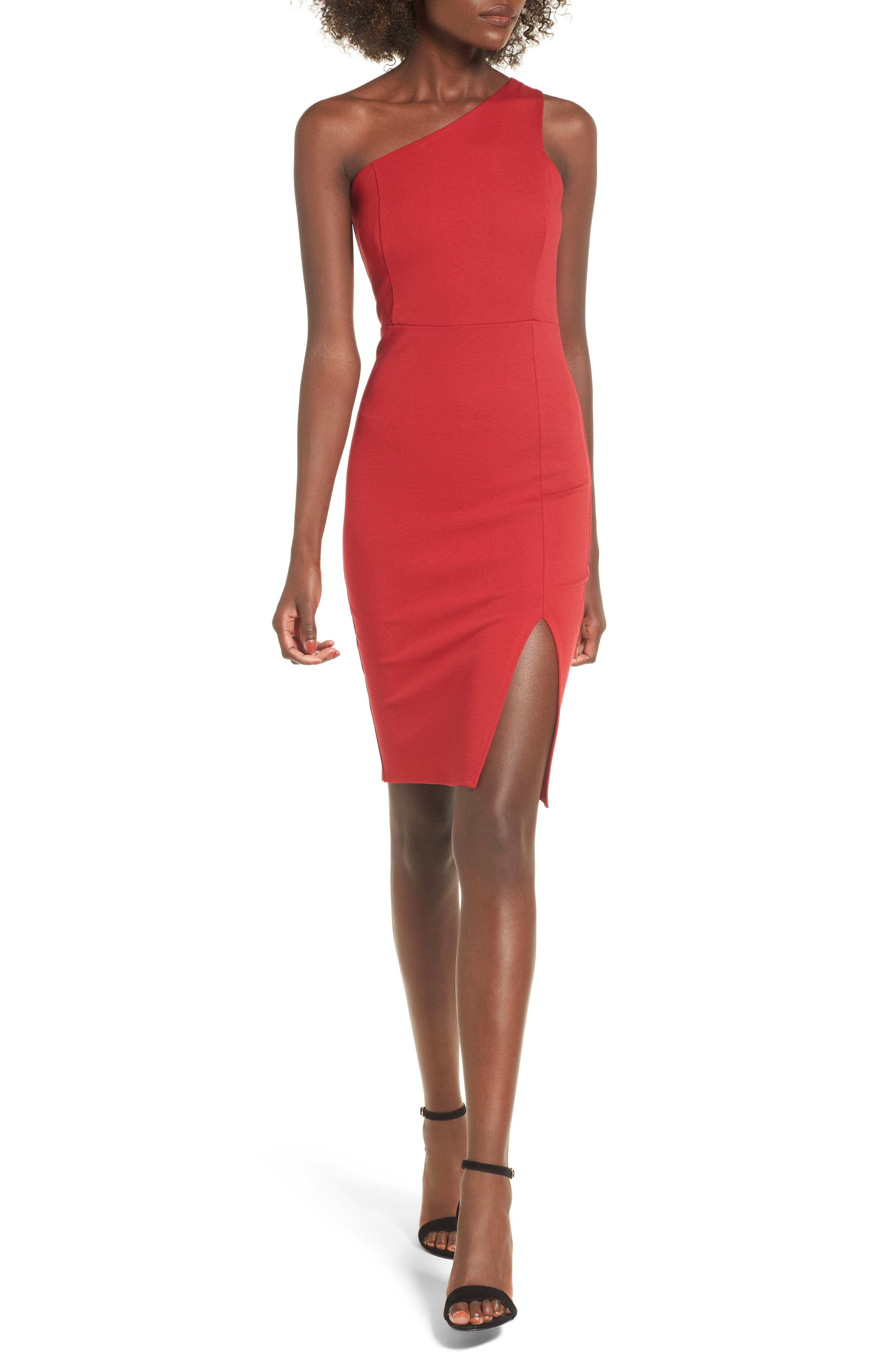 One-Shoulder Body-Con Dress,                         Main,                         color, Red