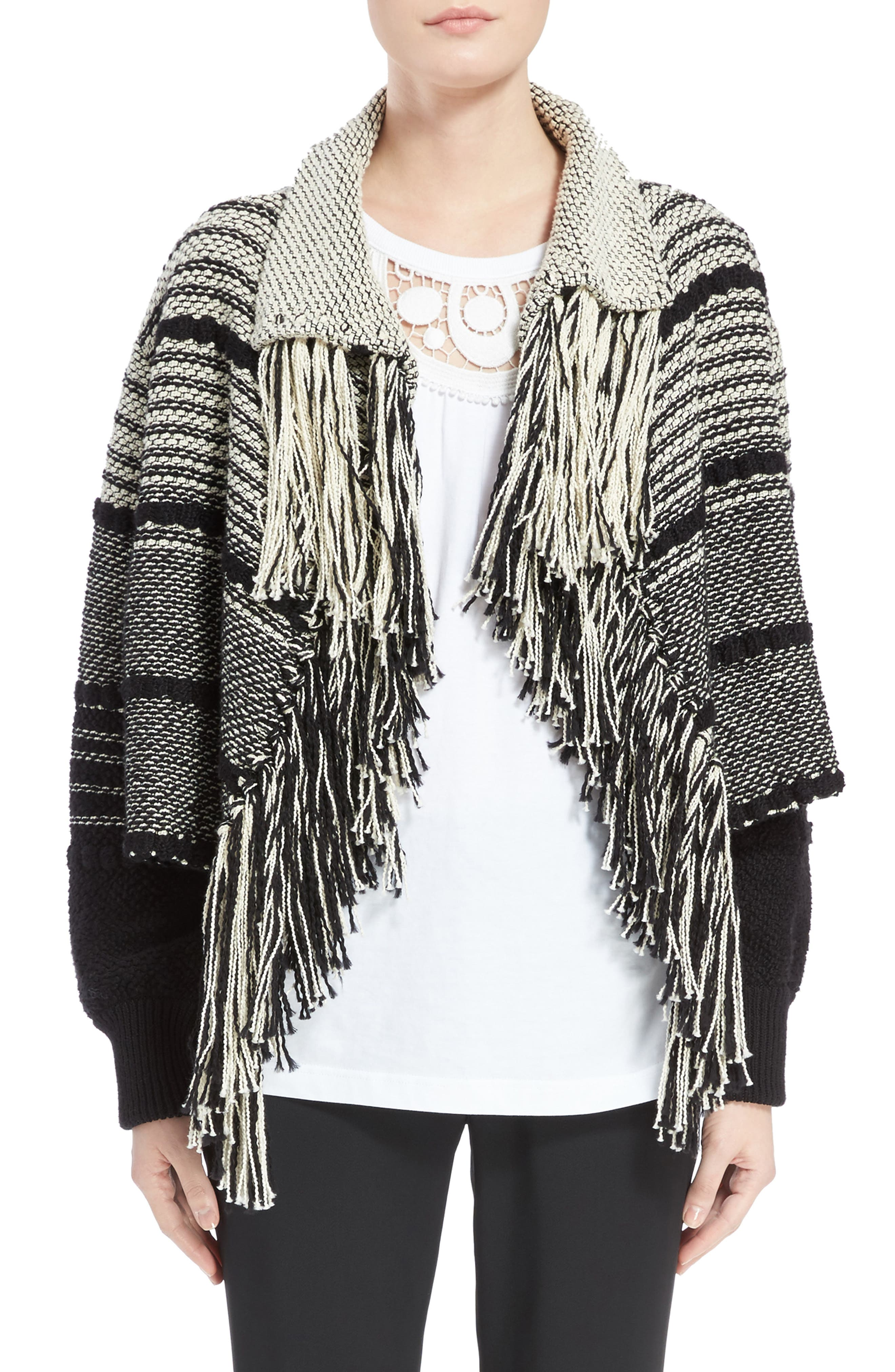 Alternate Image 1 Selected - Chloé Fringe Trim Stripe Cardigan