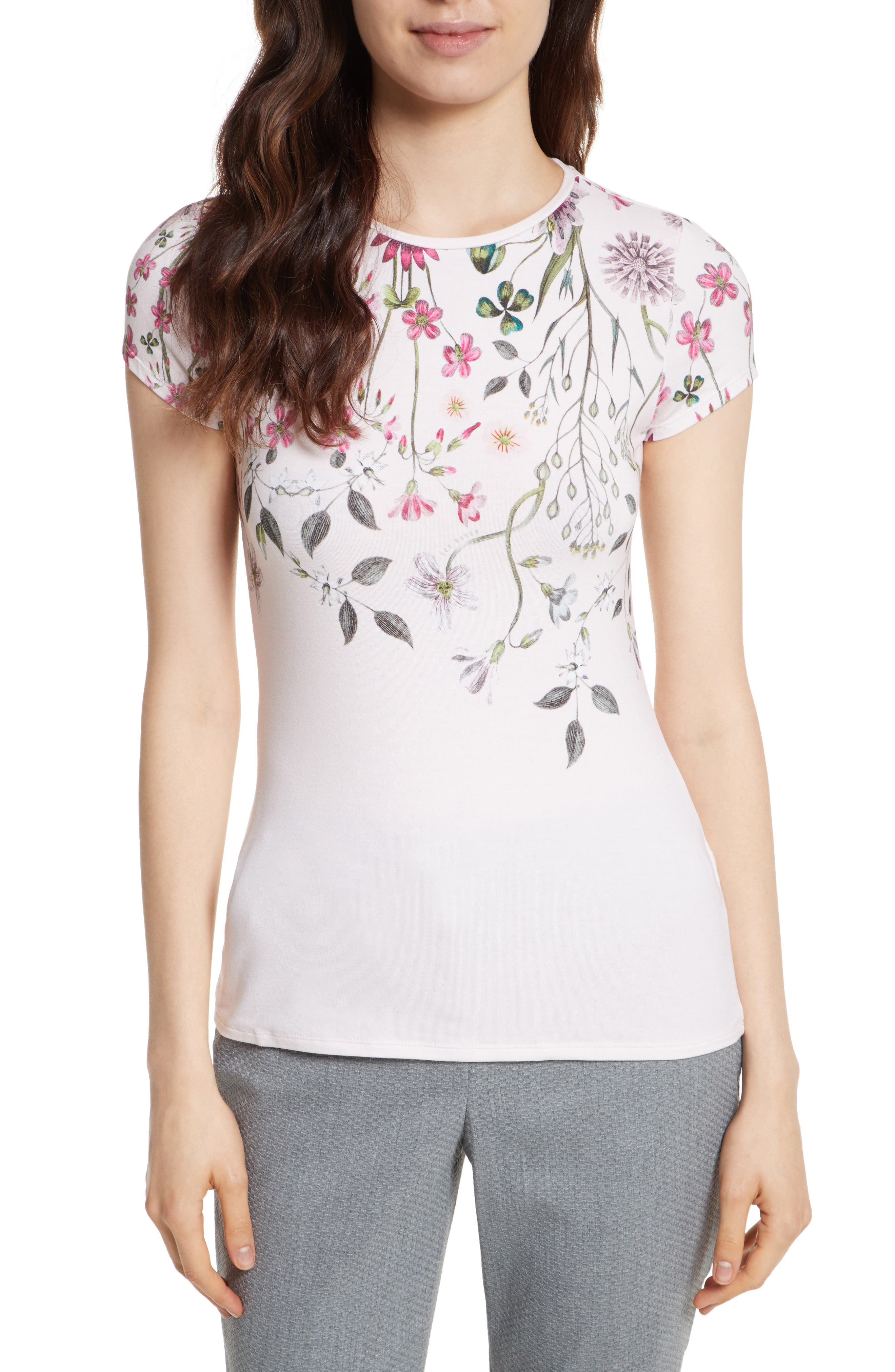 Ebone Unity Floral Fitted Tee,                             Main thumbnail 1, color,                             Nude Pink
