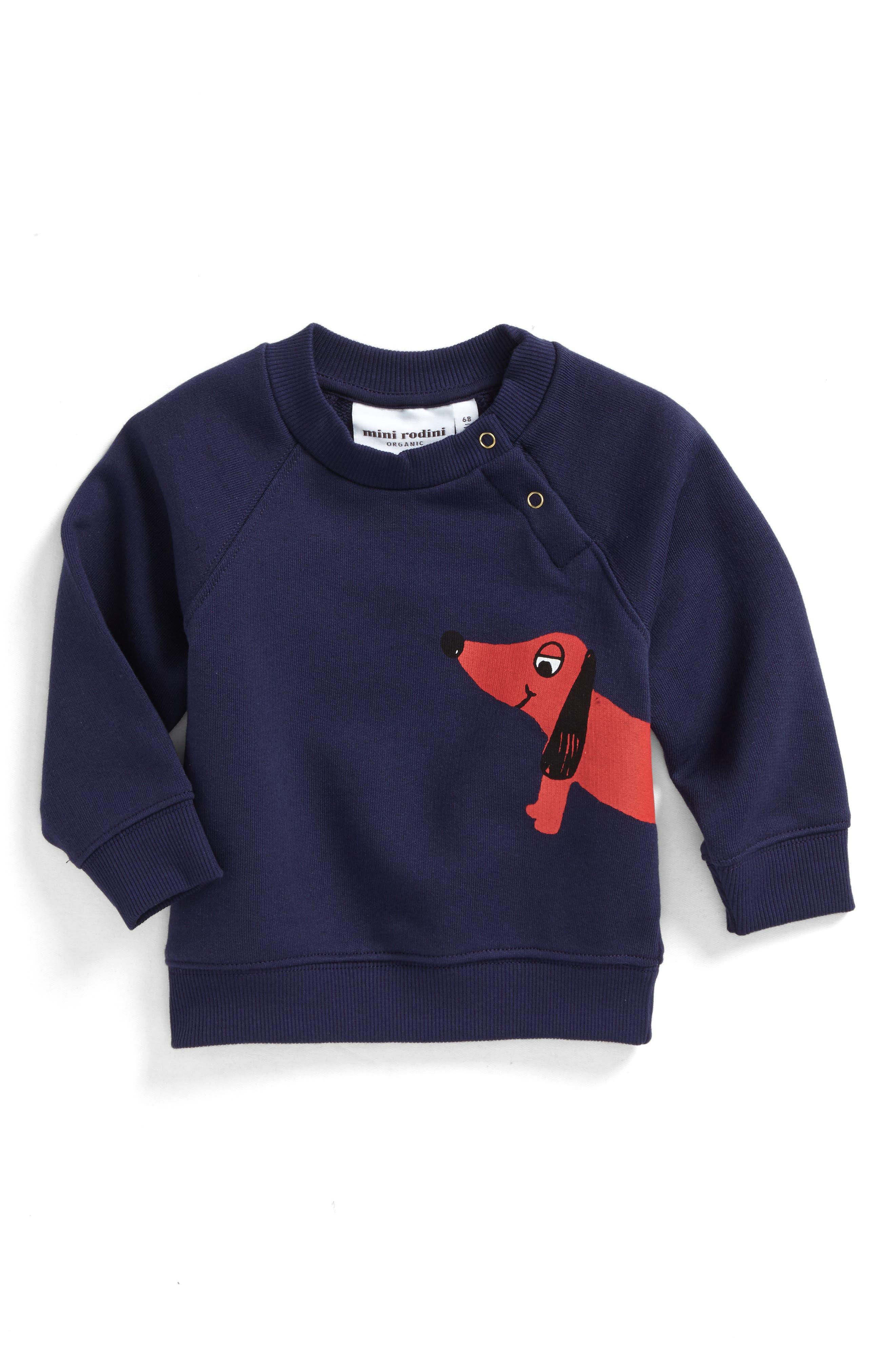Alternate Image 1 Selected - Mini Rodini Dog Sweatshirt (Baby Boys)
