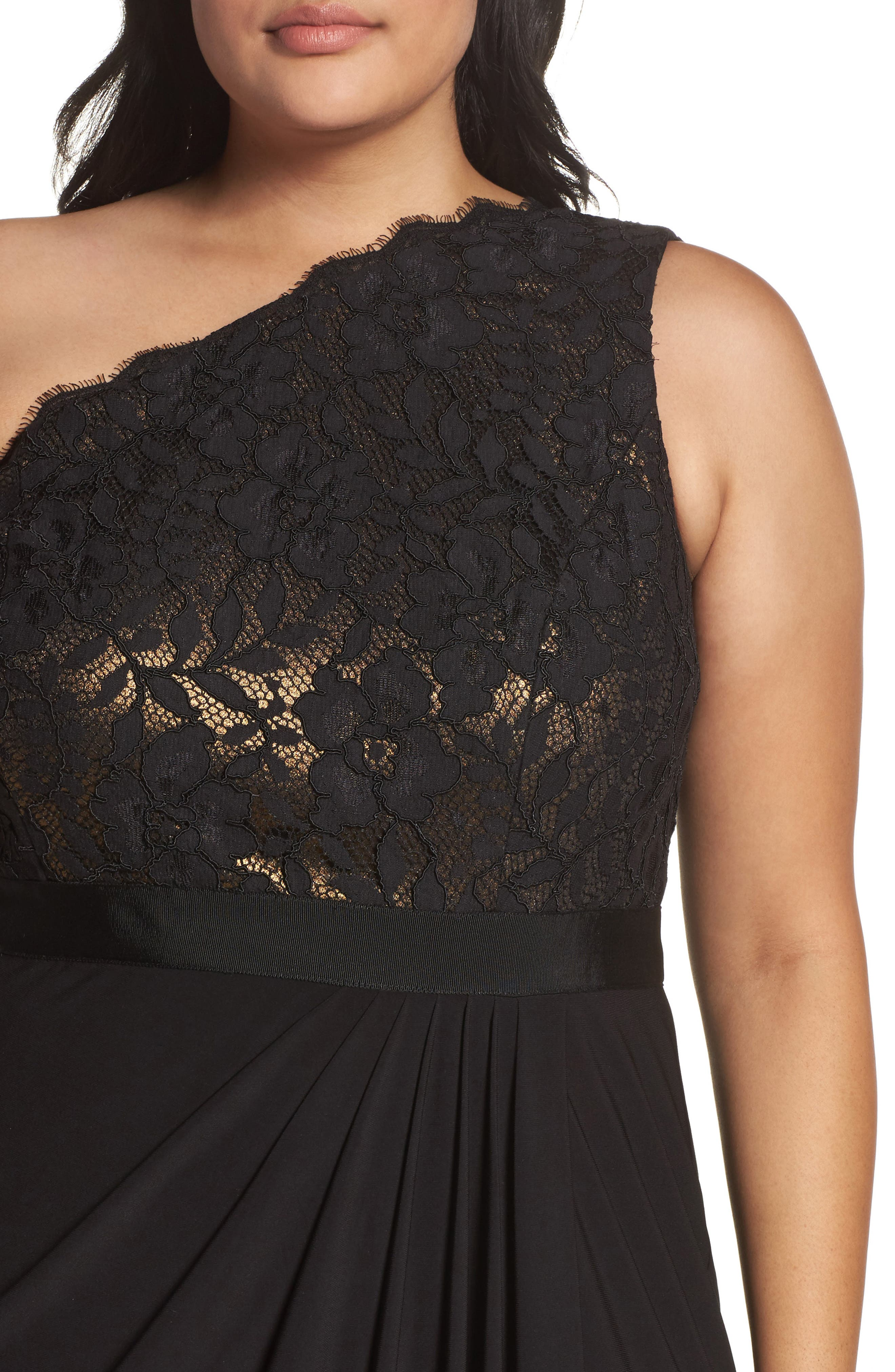 Metallic Lined Lace & Chiffon One-Shoulder Gown,                             Alternate thumbnail 4, color,                             Black/ Copper