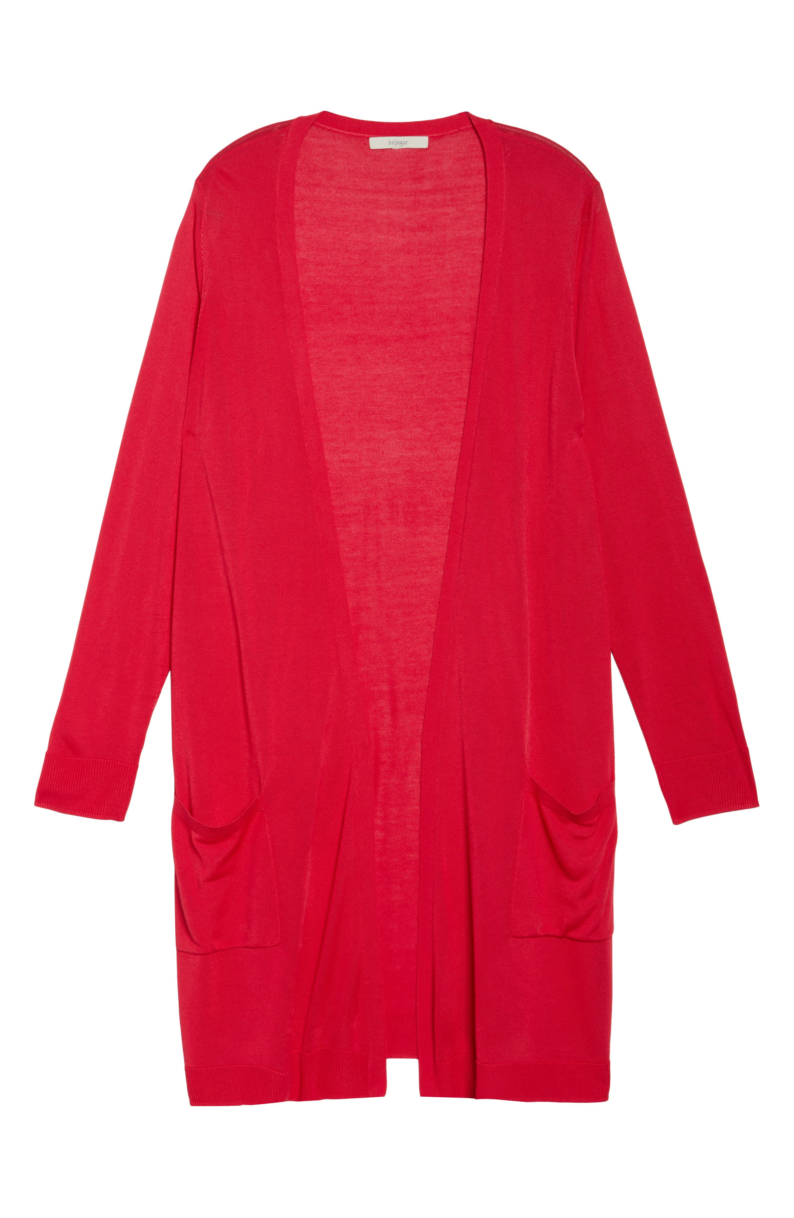 Long Cardigan,                             Alternate thumbnail 6, color,                             Red Barberry