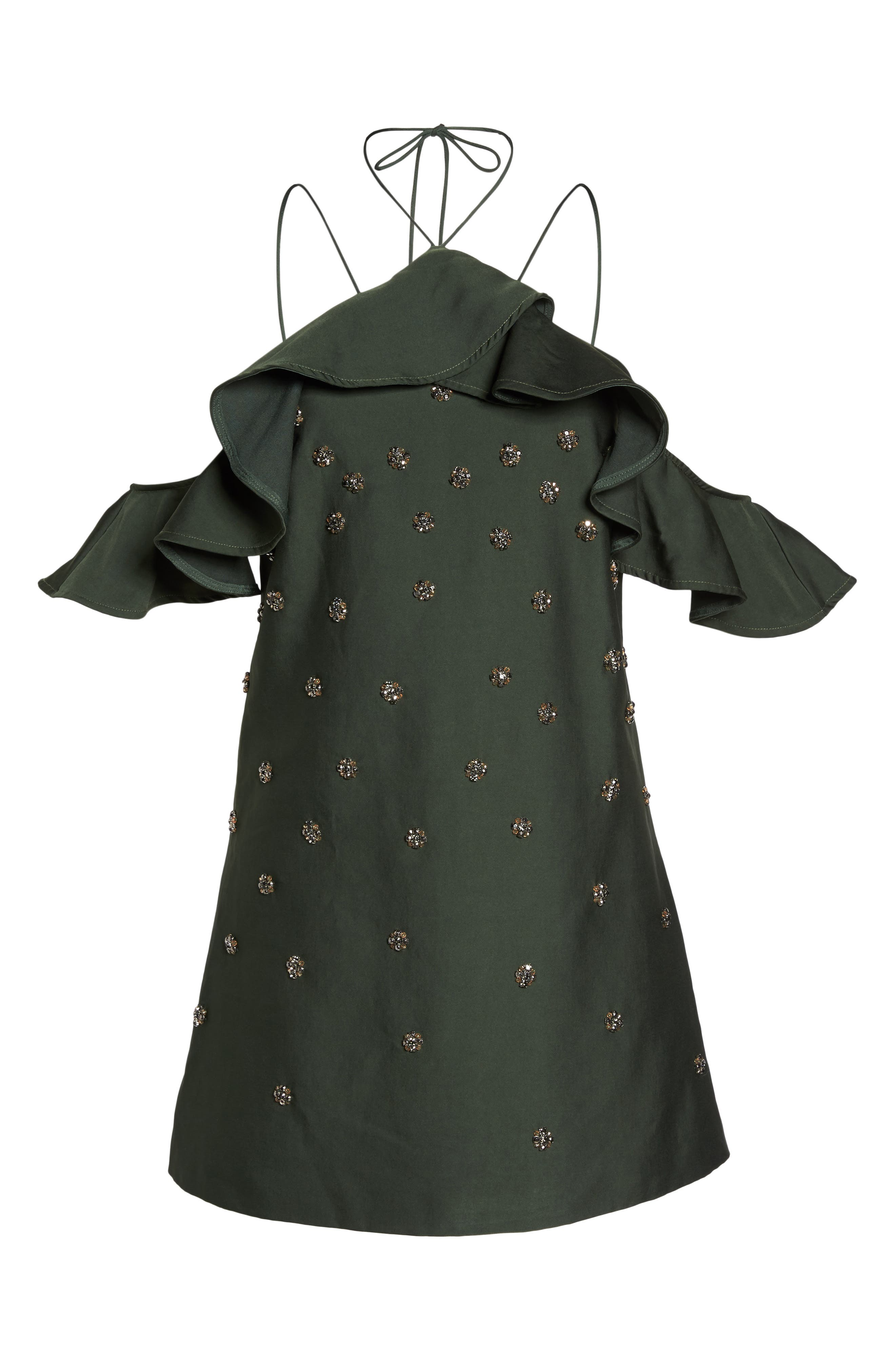 Assemble Embellished Shift Dress,                             Alternate thumbnail 8, color,                             Forest