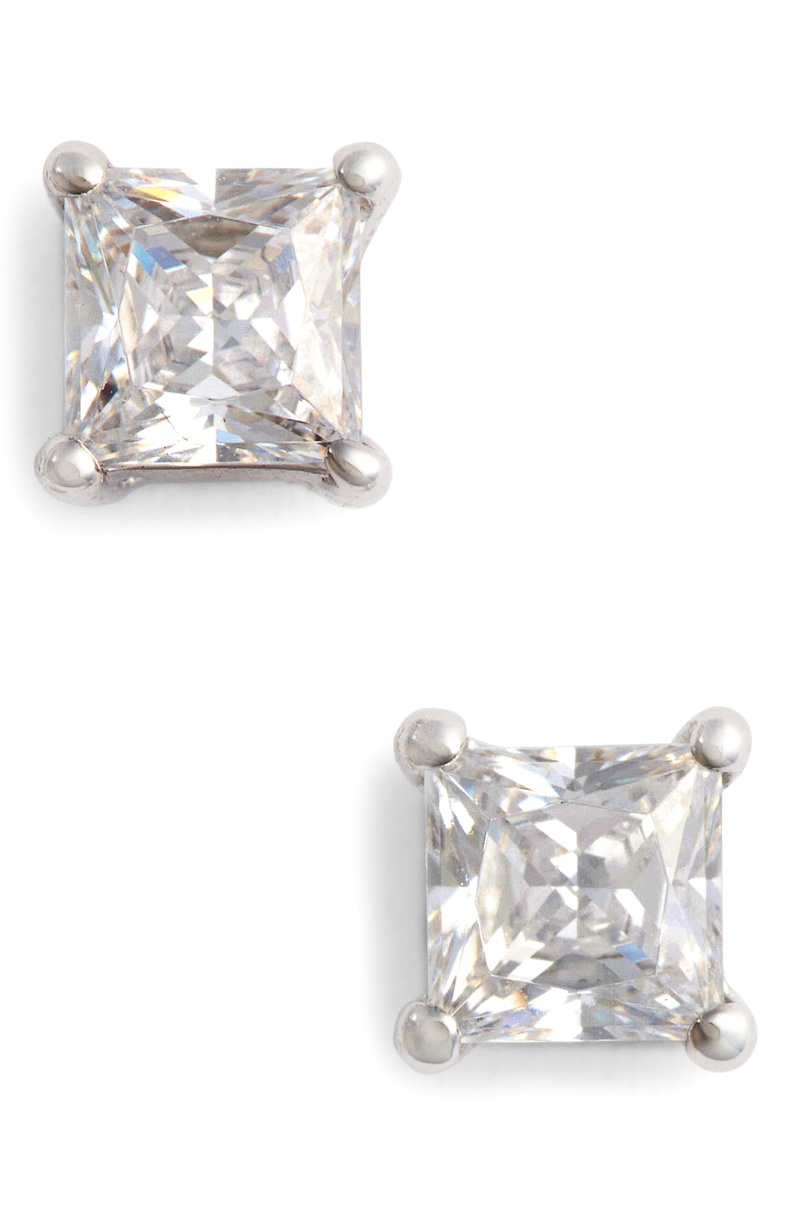 Simulated Diamond Stud Earrings,                             Main thumbnail 1, color,                             Silver/ Clear