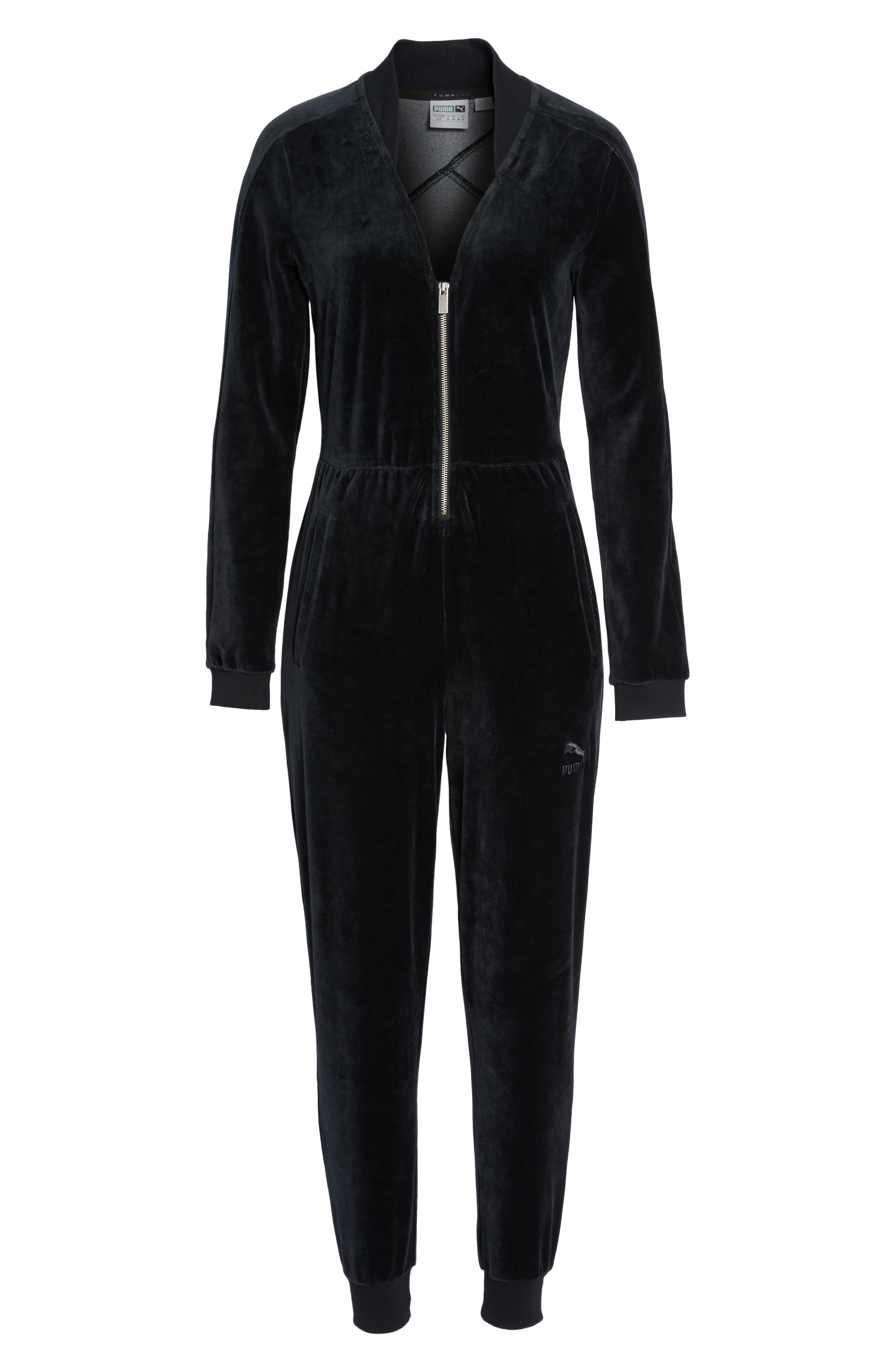 Velour T7 Jumpsuit,                             Alternate thumbnail 6, color,                             Puma Black