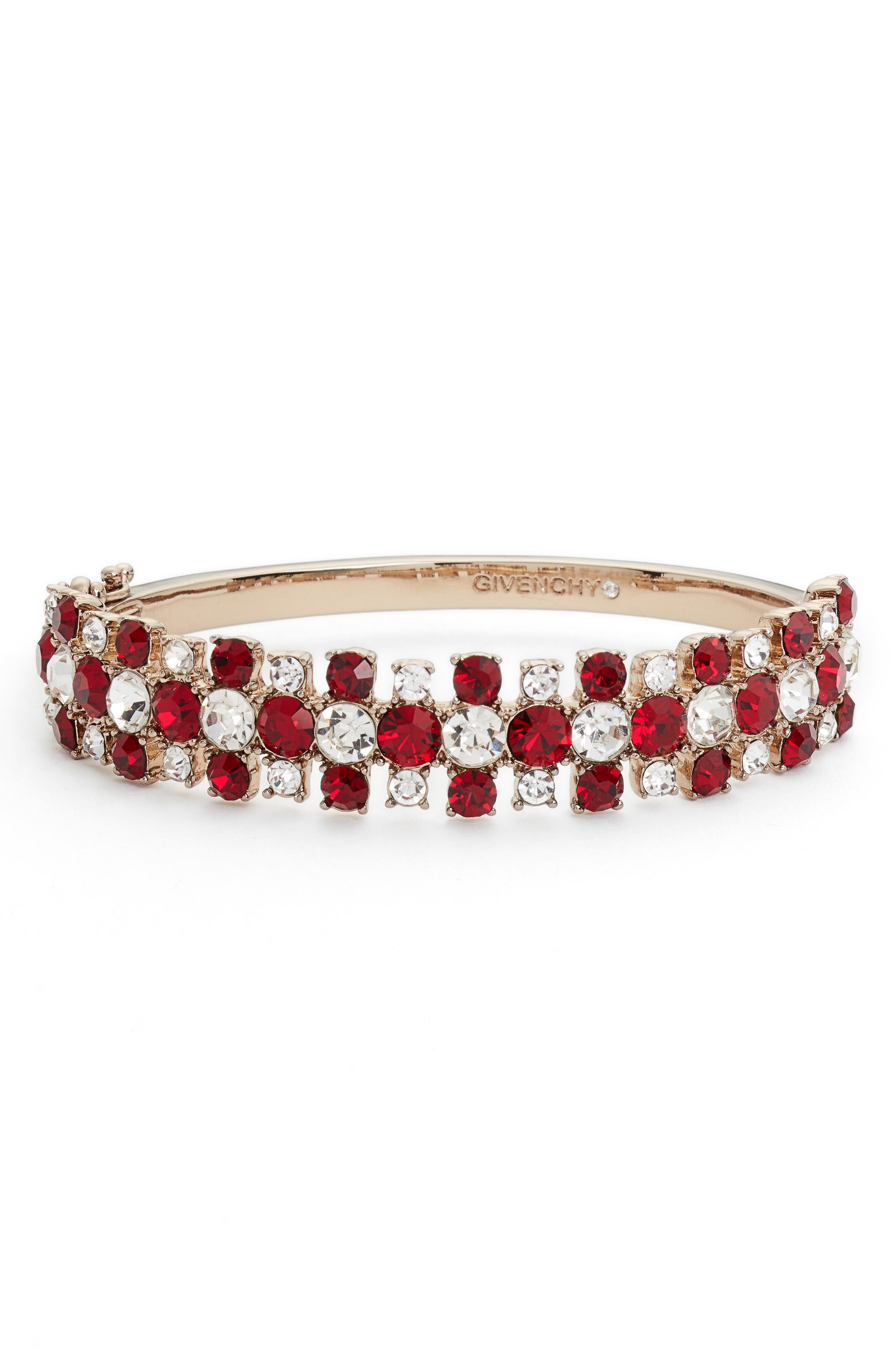 Crystal Bangle Bracelet,                             Main thumbnail 1, color,                             Red/ Gold