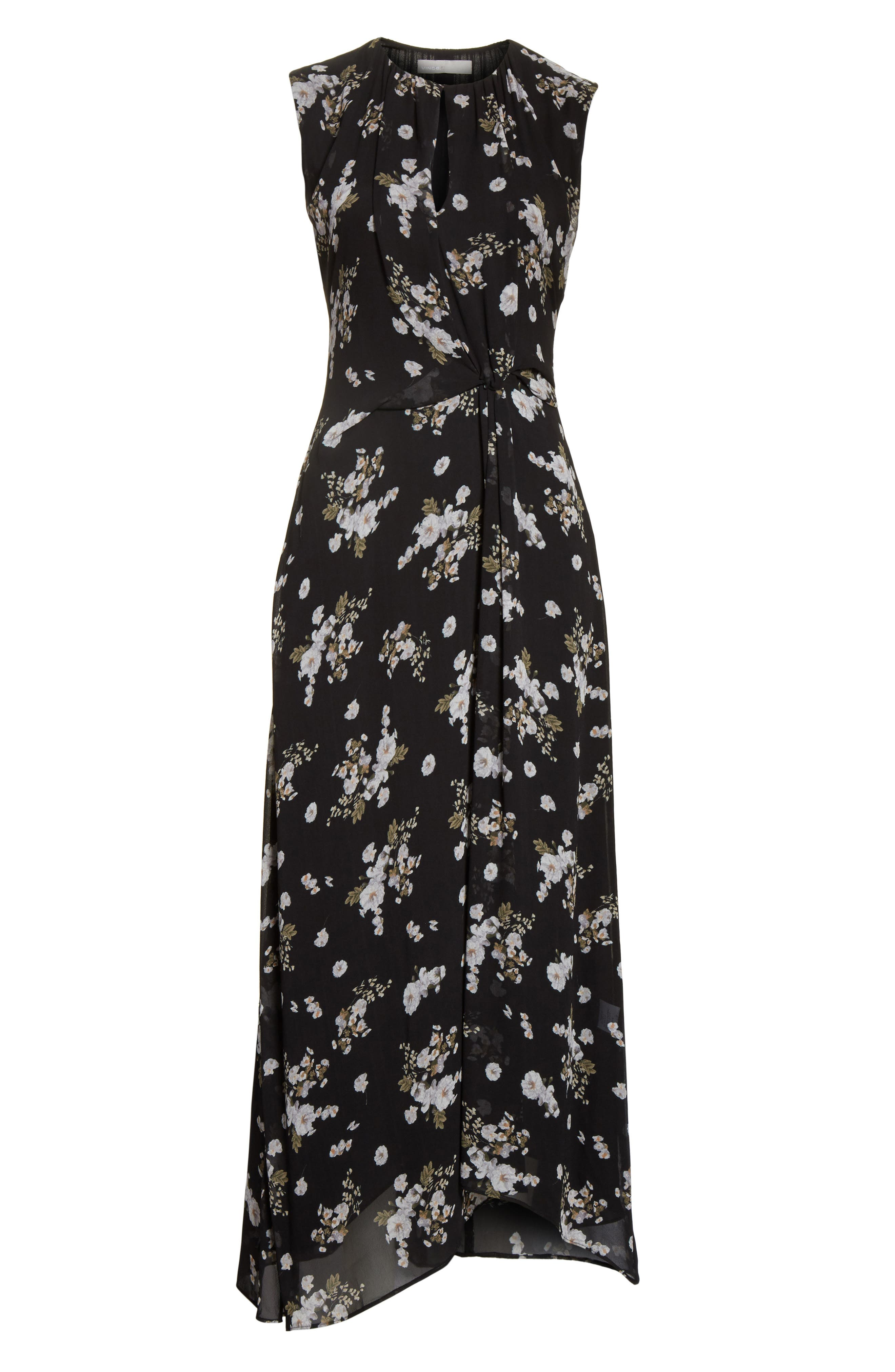 Alternate Image 6  - Vince Tossed Floral Side Drape Silk Maxi Dress