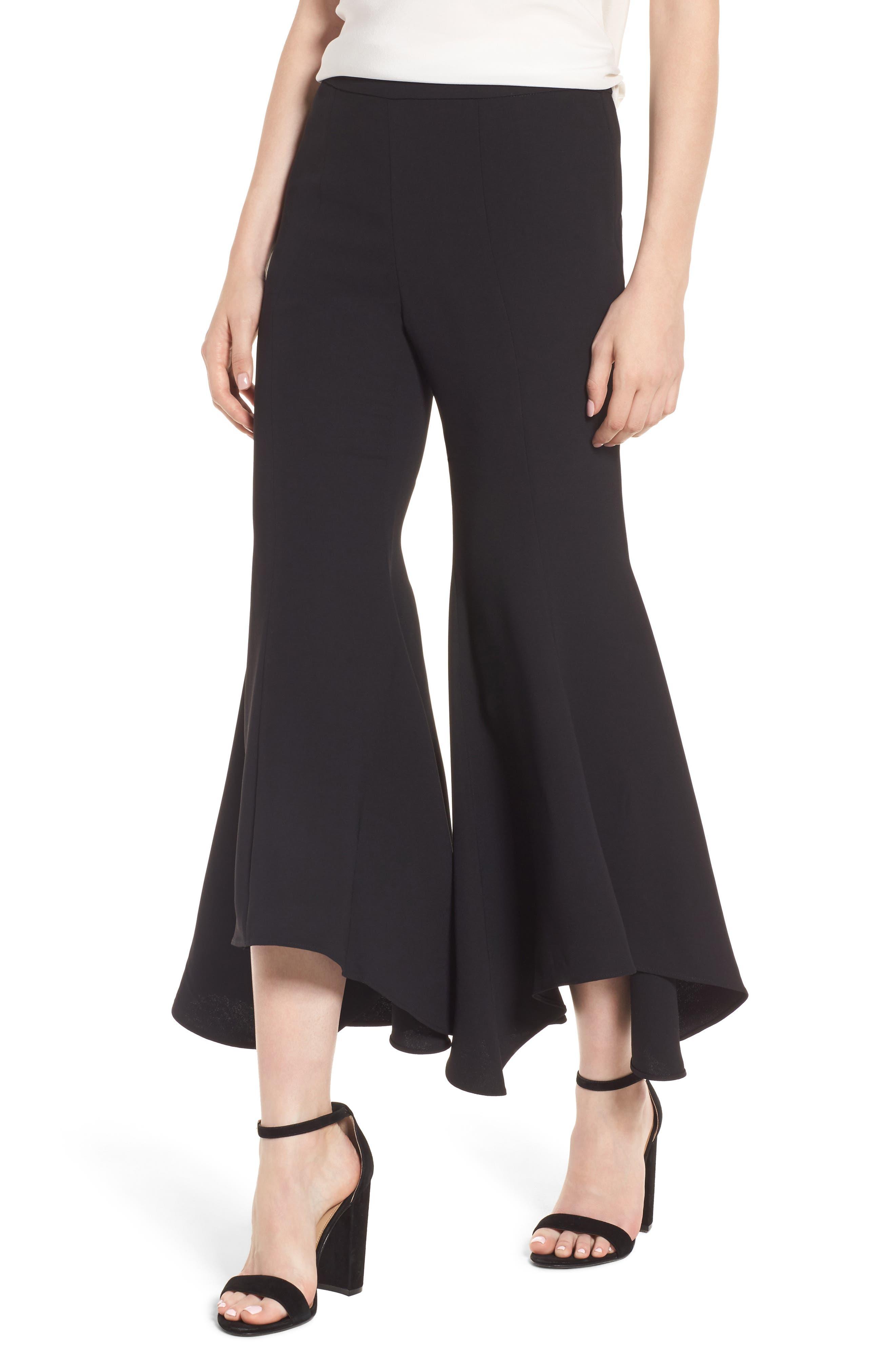 Ruffle Crop Flare Pants,                             Alternate thumbnail 4, color,                             Black