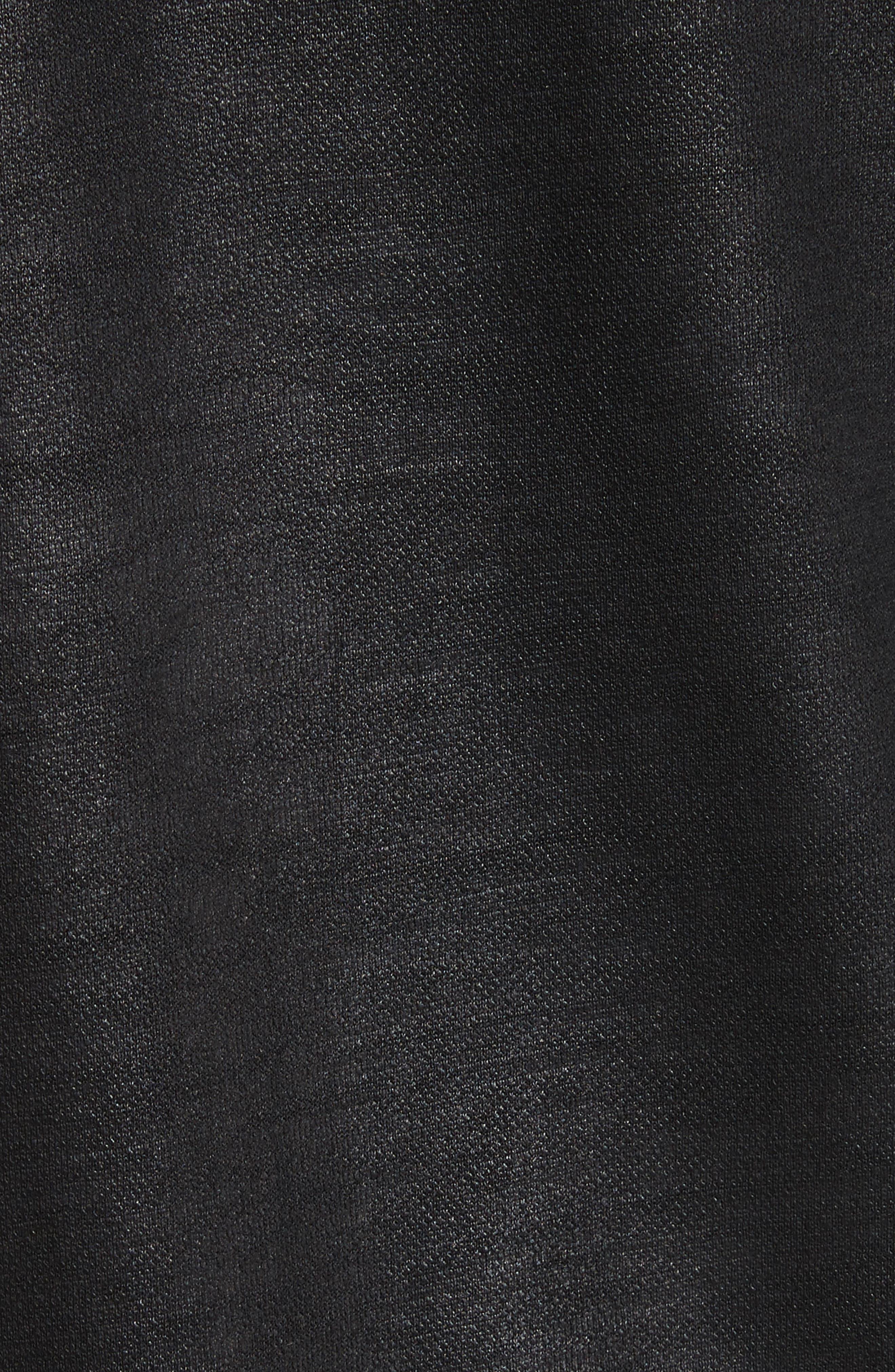 Coated Zip Hoodie,                             Alternate thumbnail 5, color,                             Black