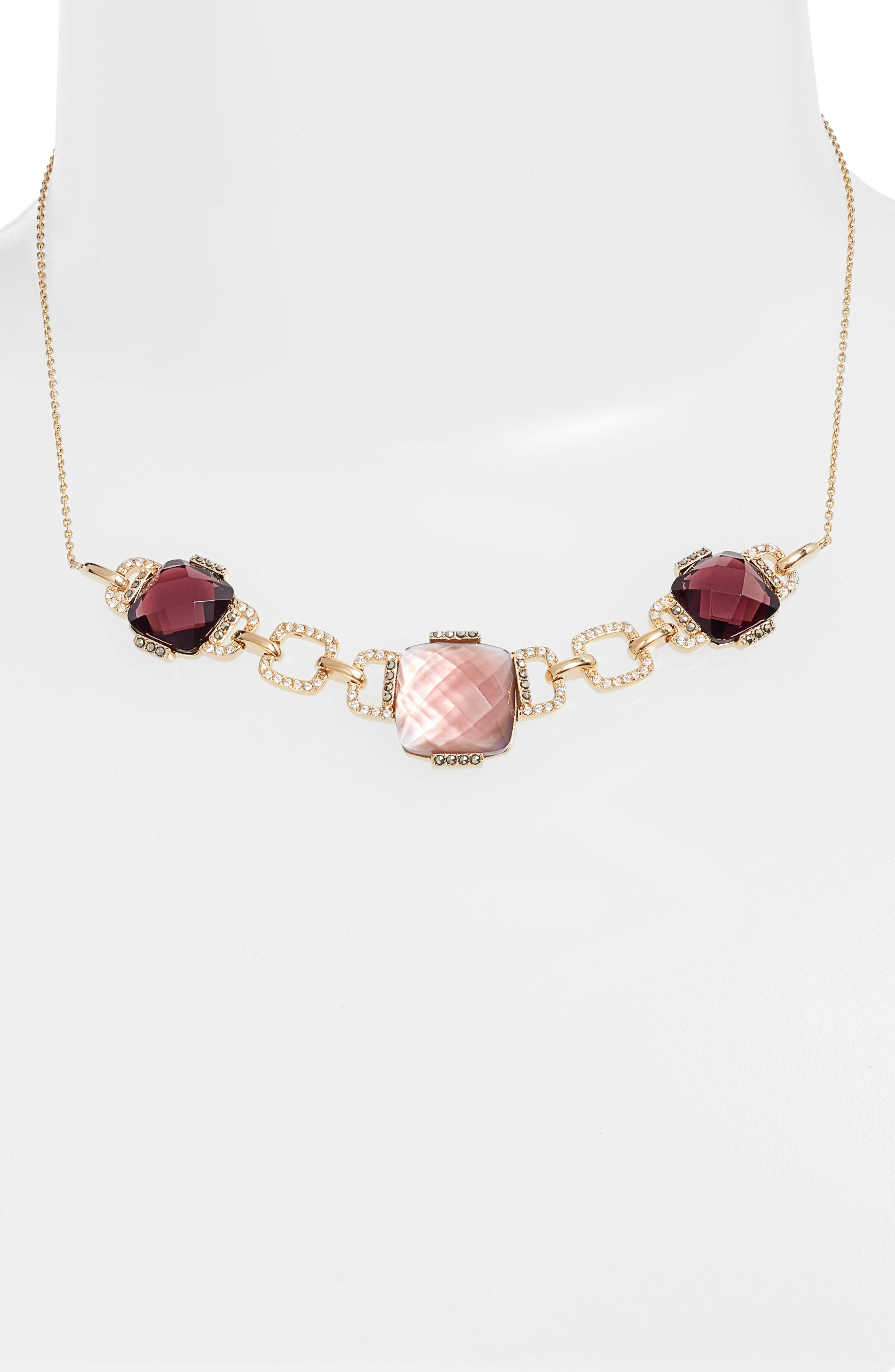 Frontal Collar Necklace,                         Main,                         color, Blush/ Gold