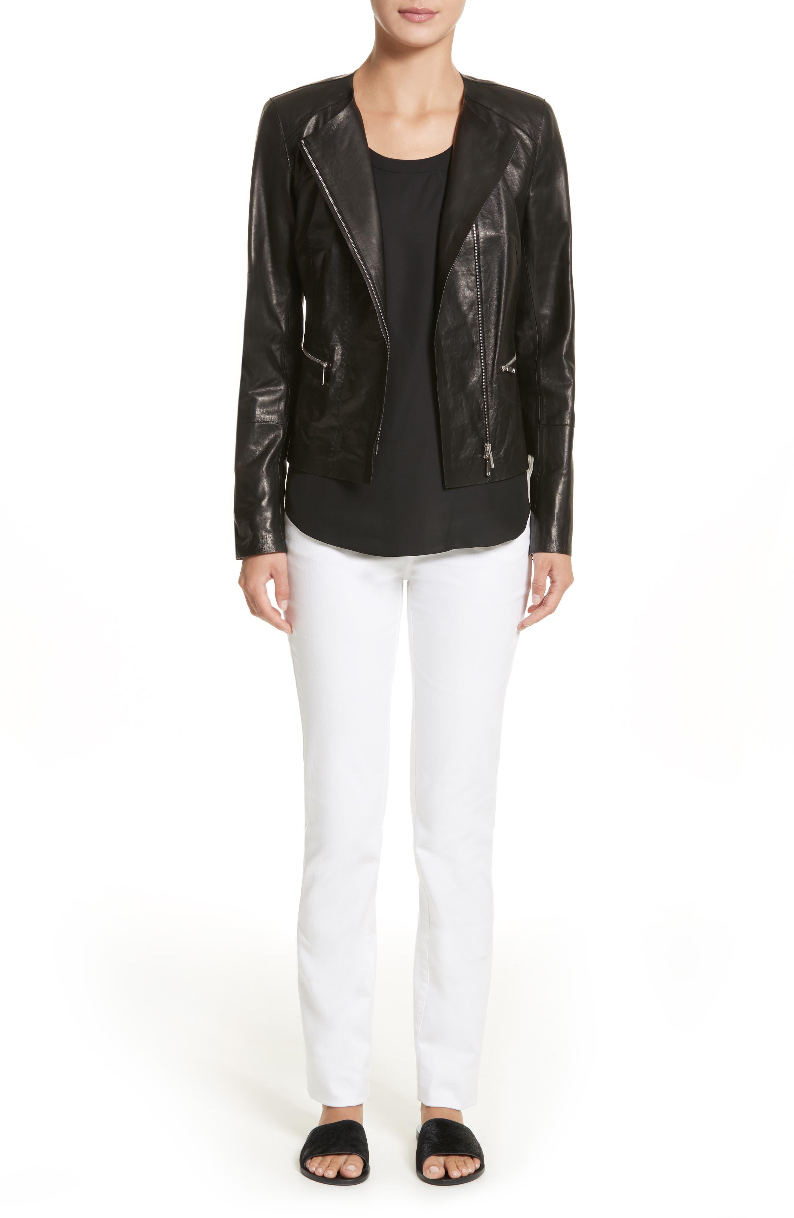 Alternate Image 7  - Lafayette 148 New York Caridee Glazed Lambskin Leather Jacket