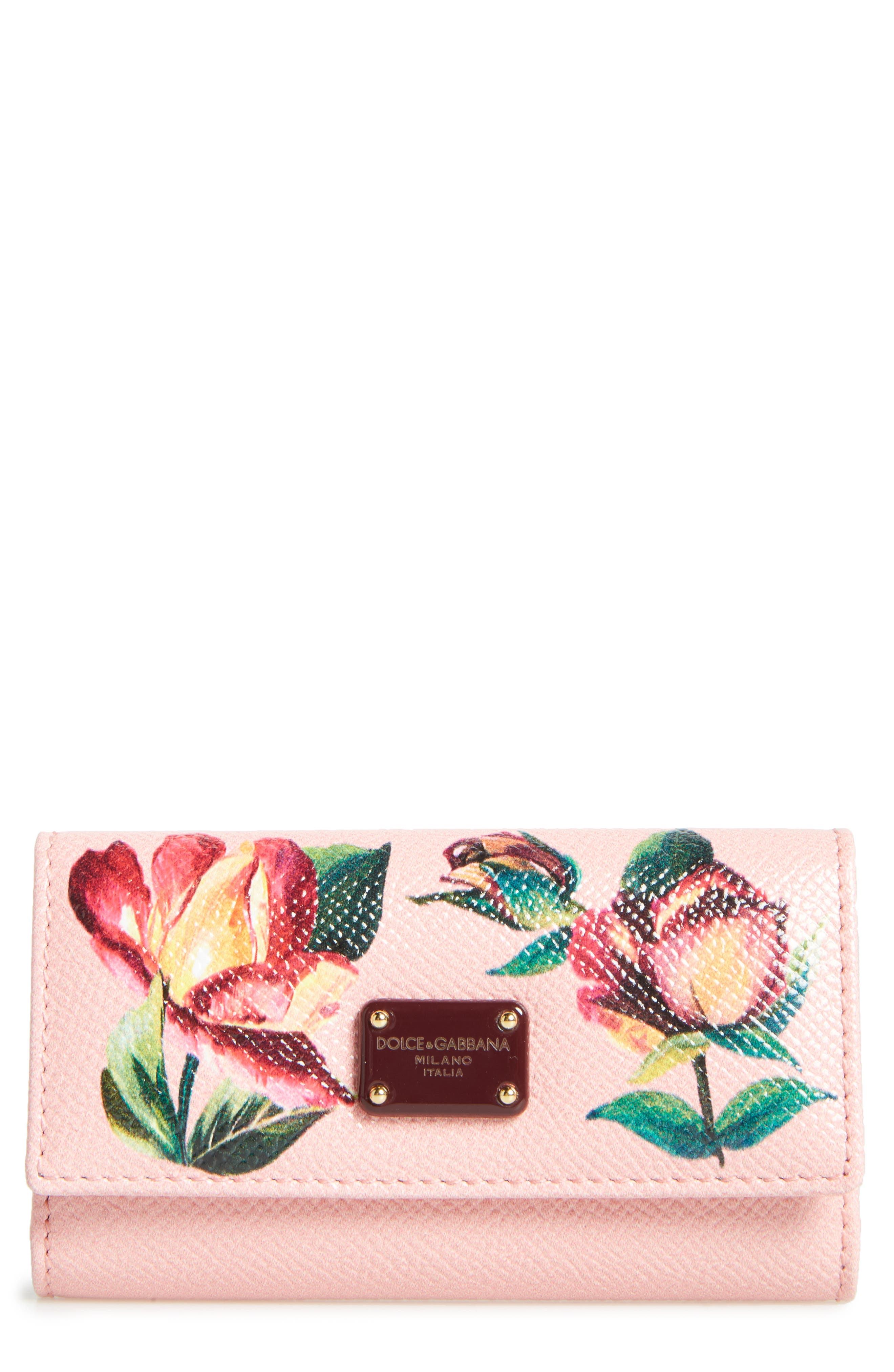 Painted Rose Dauphine Leather Key Holder,                         Main,                         color, Pink