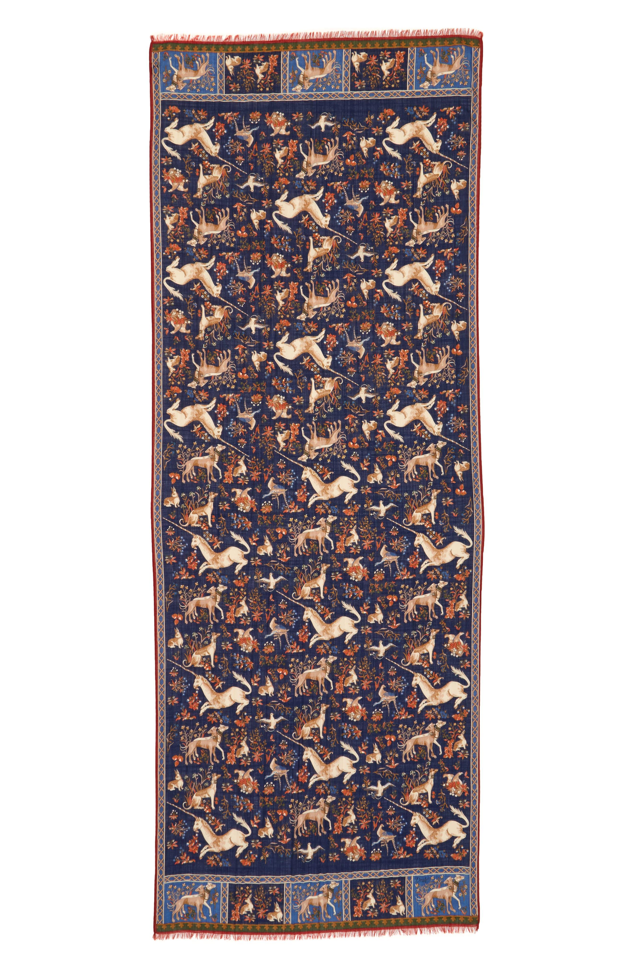 Unicorn Print Wool & Silk Scarf,                             Alternate thumbnail 2, color,                             Navy Multi