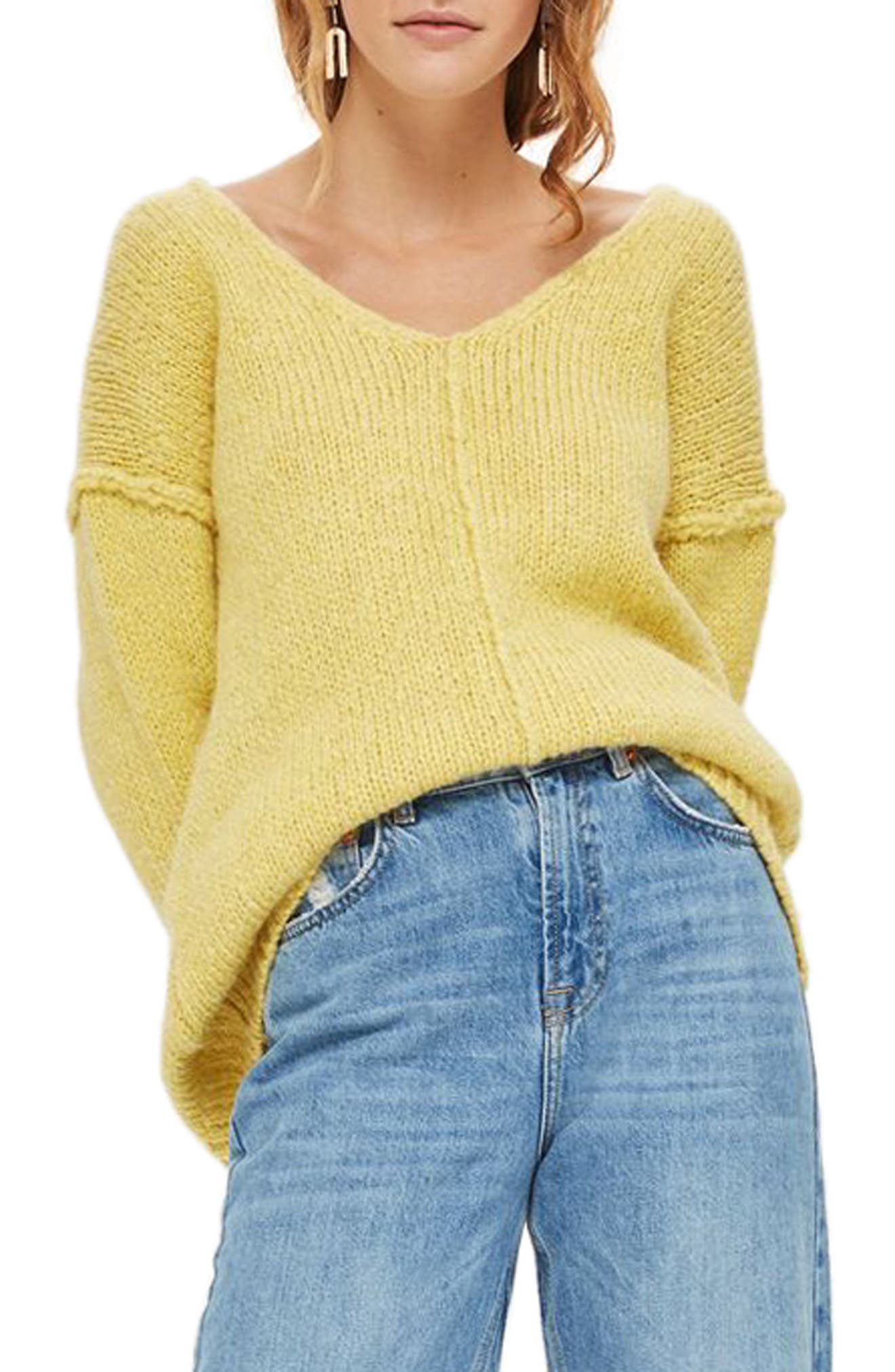 Oversize V-Neck Sweater,                         Main,                         color, Yellow