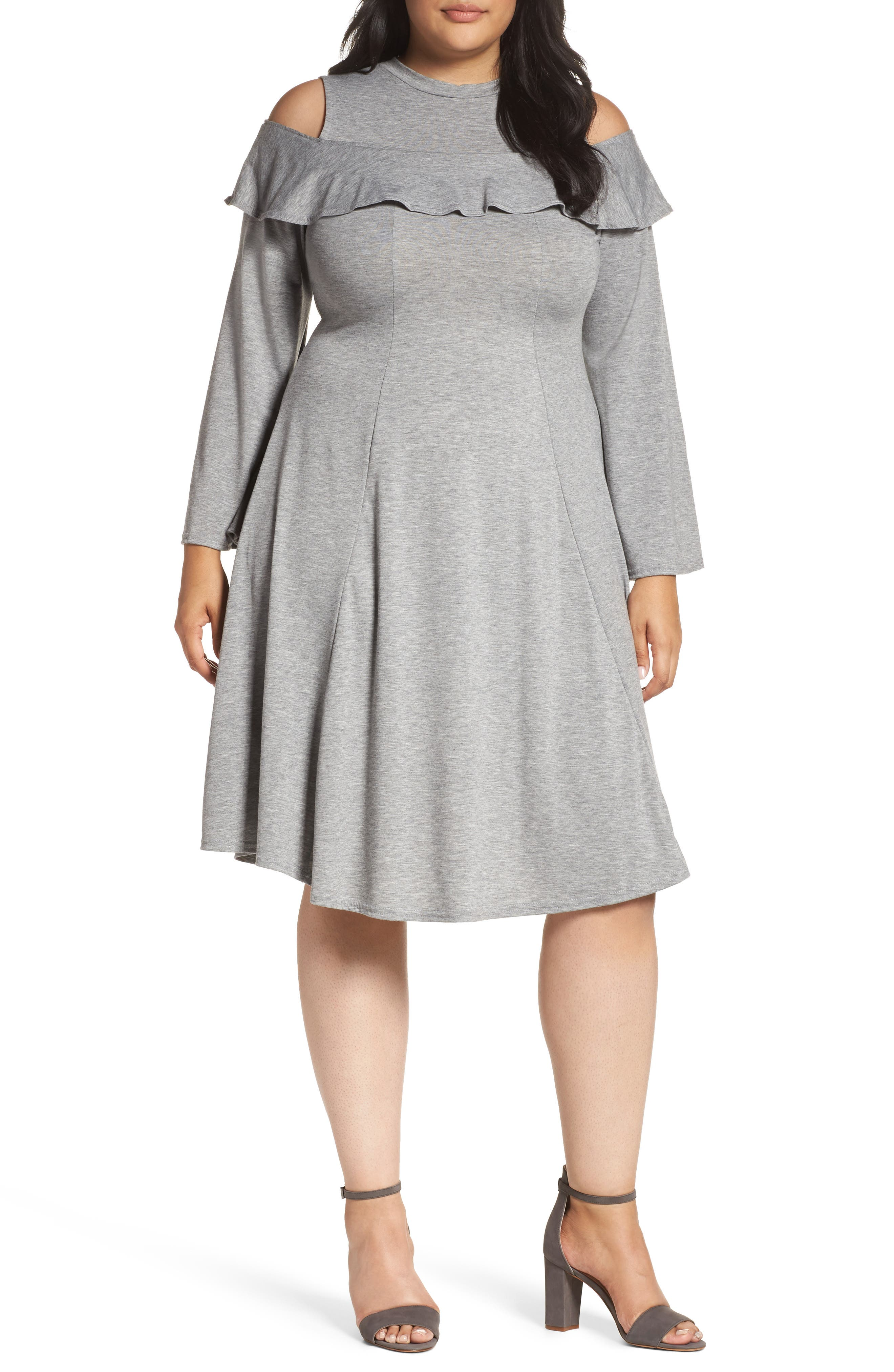 Jersey Fit & Flare Dress,                         Main,                         color, Grey