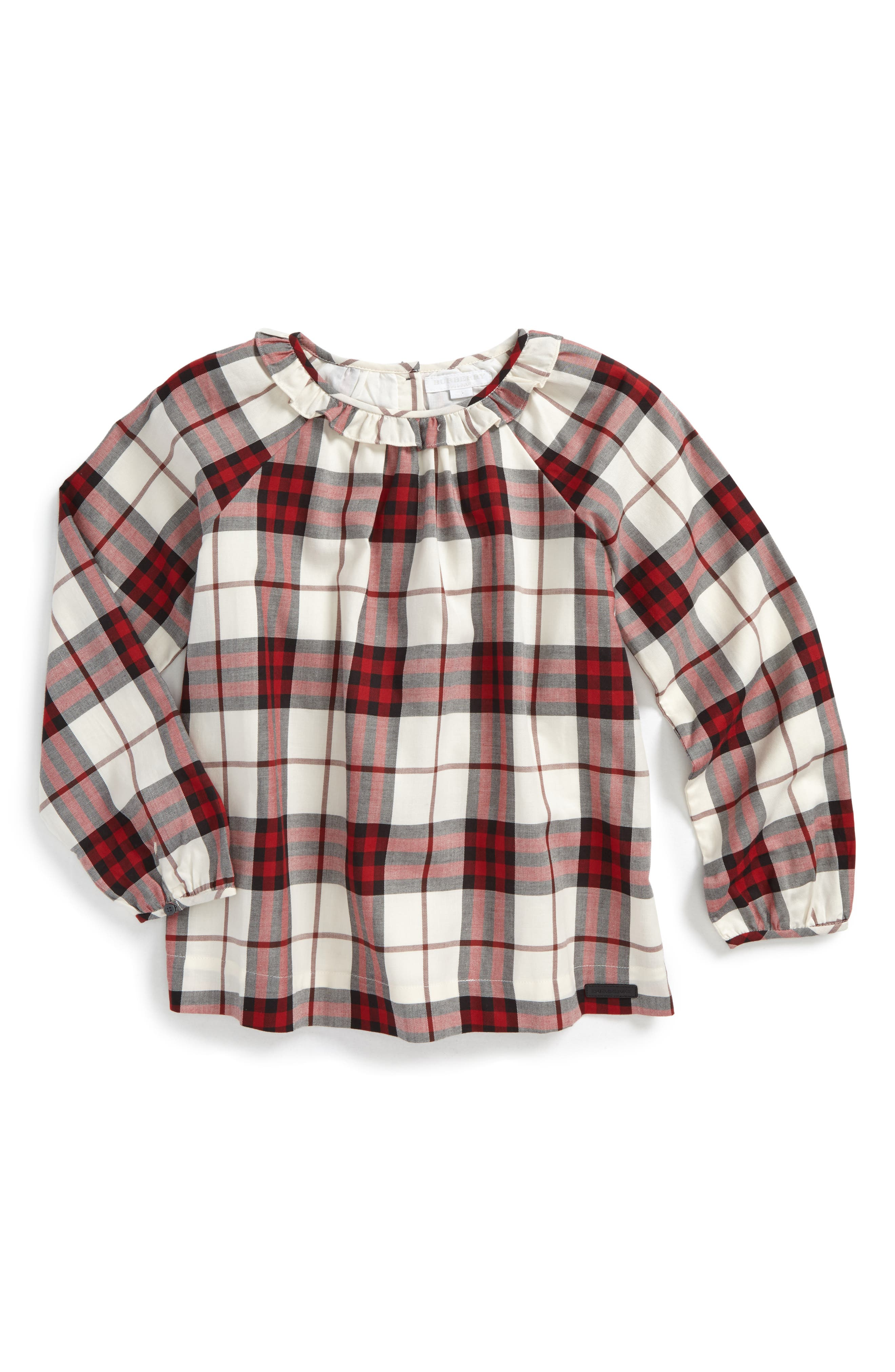 Karly Check Cotton Top,                         Main,                         color, Crimson Red